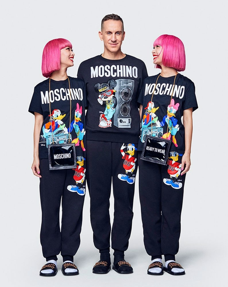 Jeremy Scott and two models sporting H&M's Moschino collection