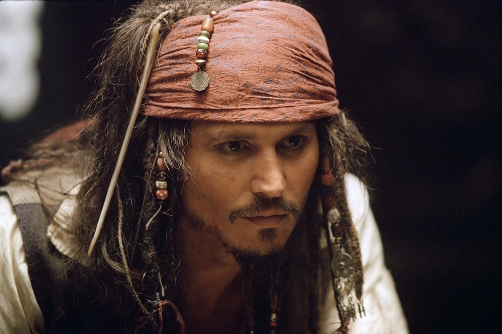 """Jack Sparrow (Johnny Depp) in """"Pirates of the Caribbean"""""""