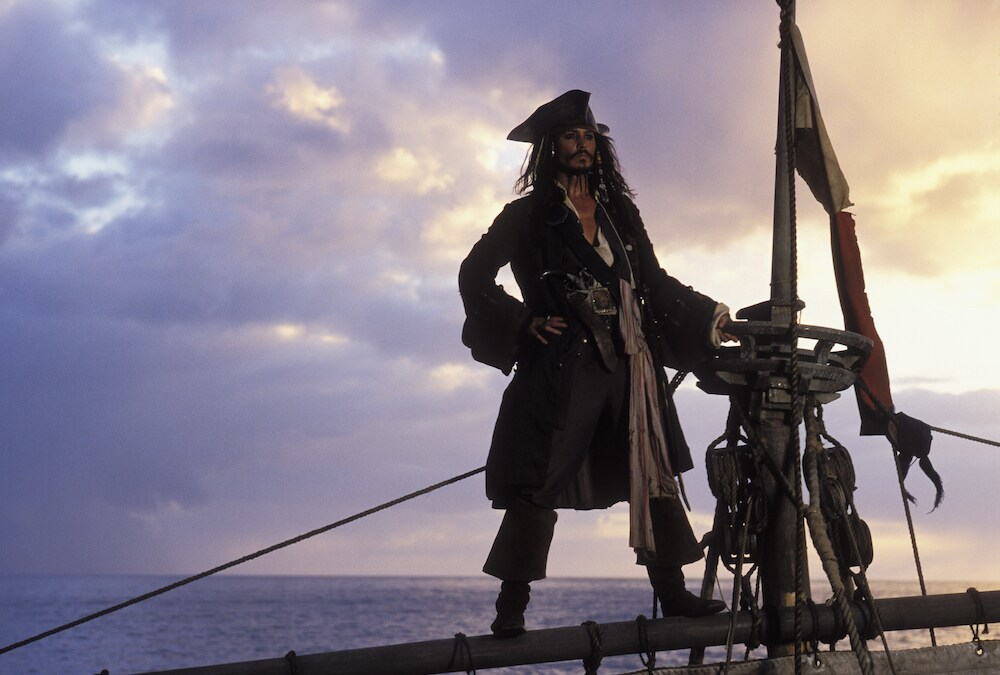 """Jack Sparrow on his ship in """"Pirates of the Caribbean"""""""