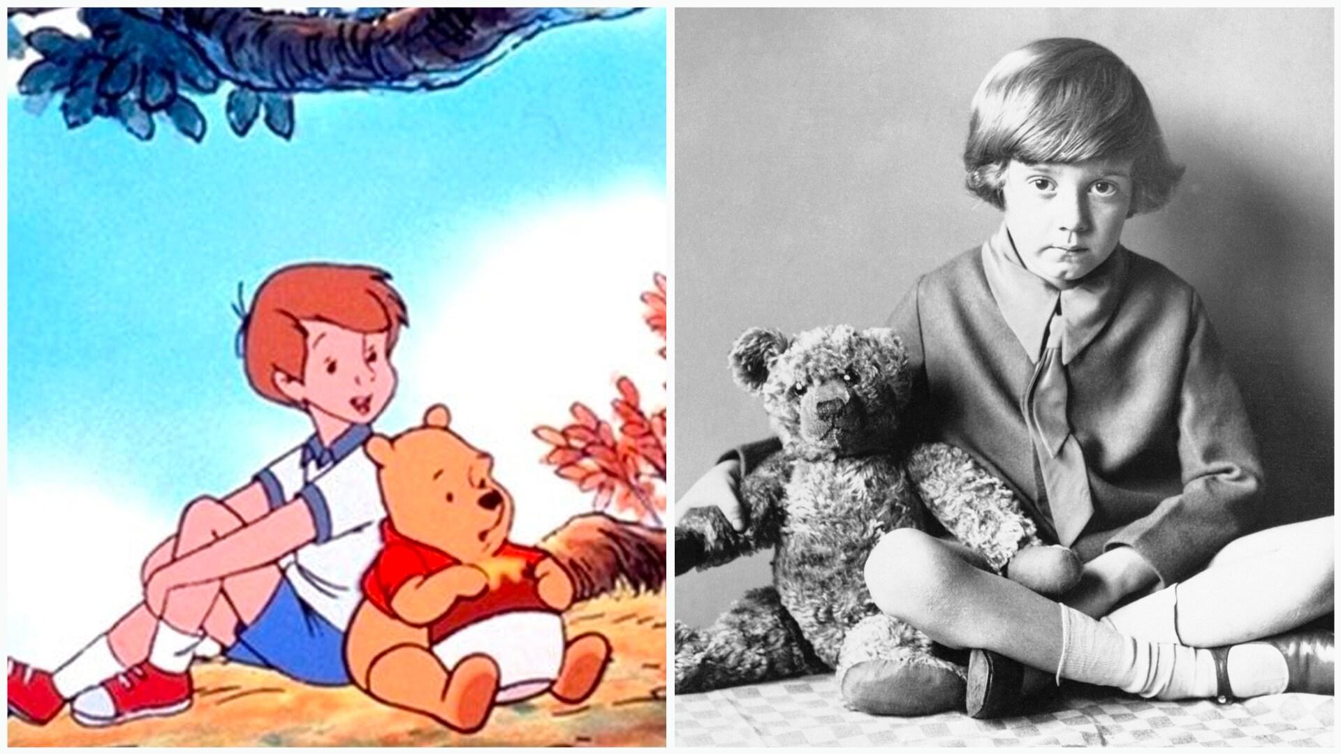 Christopher Robin e Ursinho Pooh e Christopher Robin Milne e Winnie the Pooh
