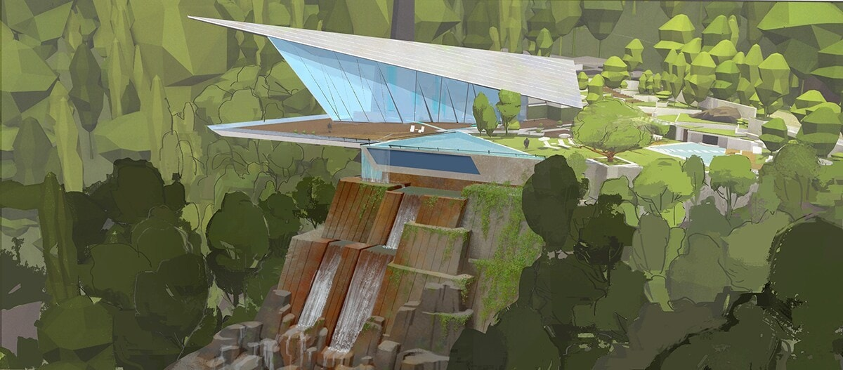 Concept art of an extravagant mid-century modern home with large, floor-to-ceiling windows. The home juts out of the side of a cliff.