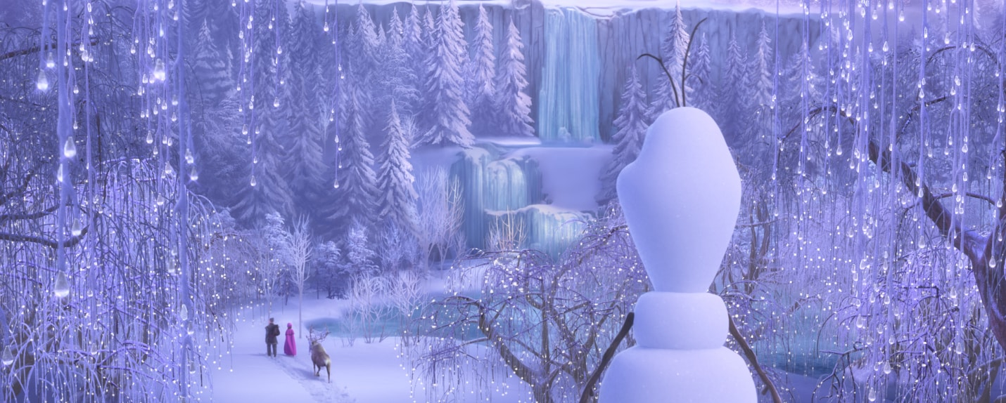 Olaf looks at Anna and Kristoff