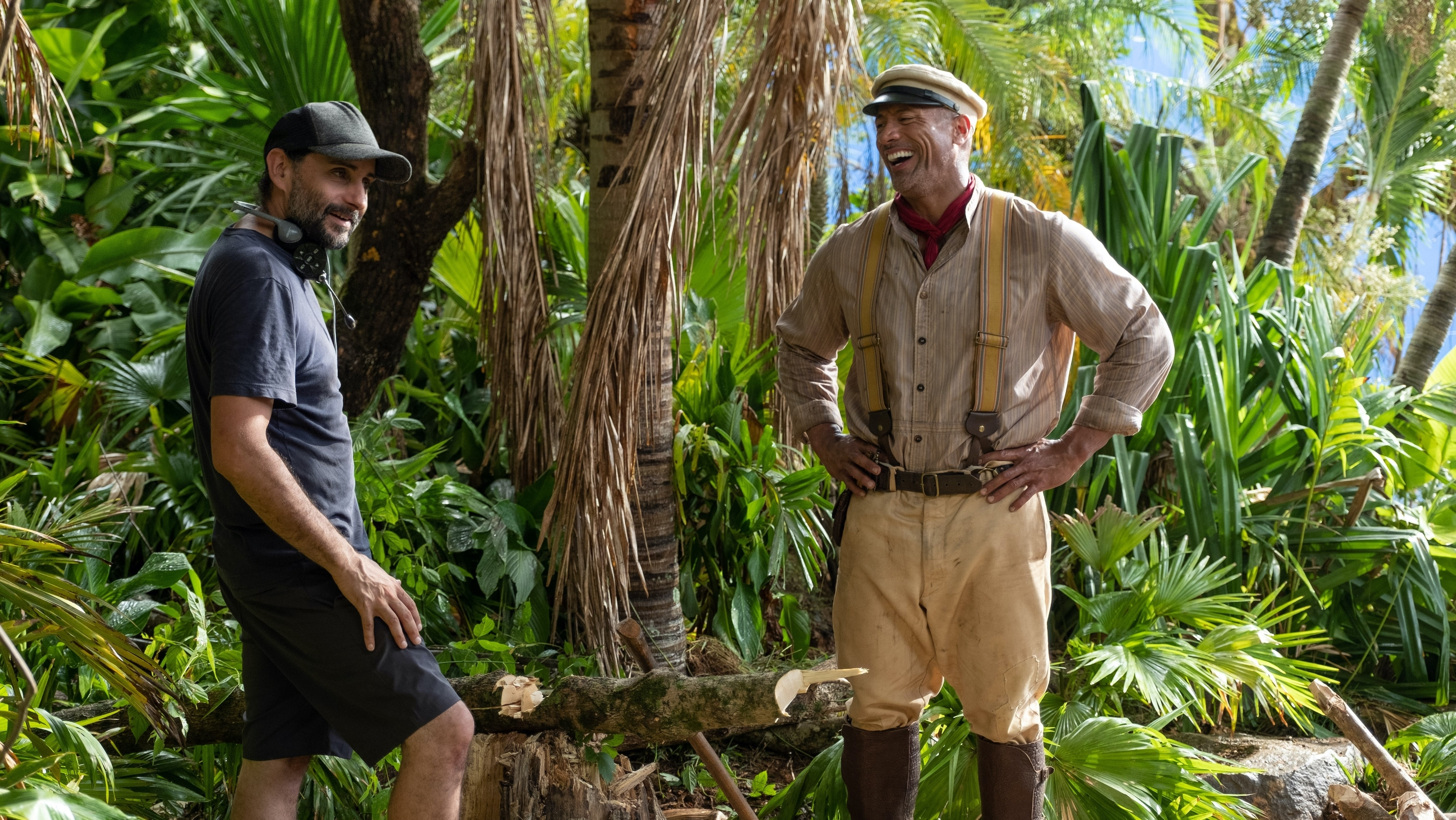 Director Jaume Collet-Serra and Dwayne Johnson on the set of Disney's JUNGLE CRUISE. Photo by Frank Masi. © 2021 Disney Enterprises, Inc. All Rights Reserved.