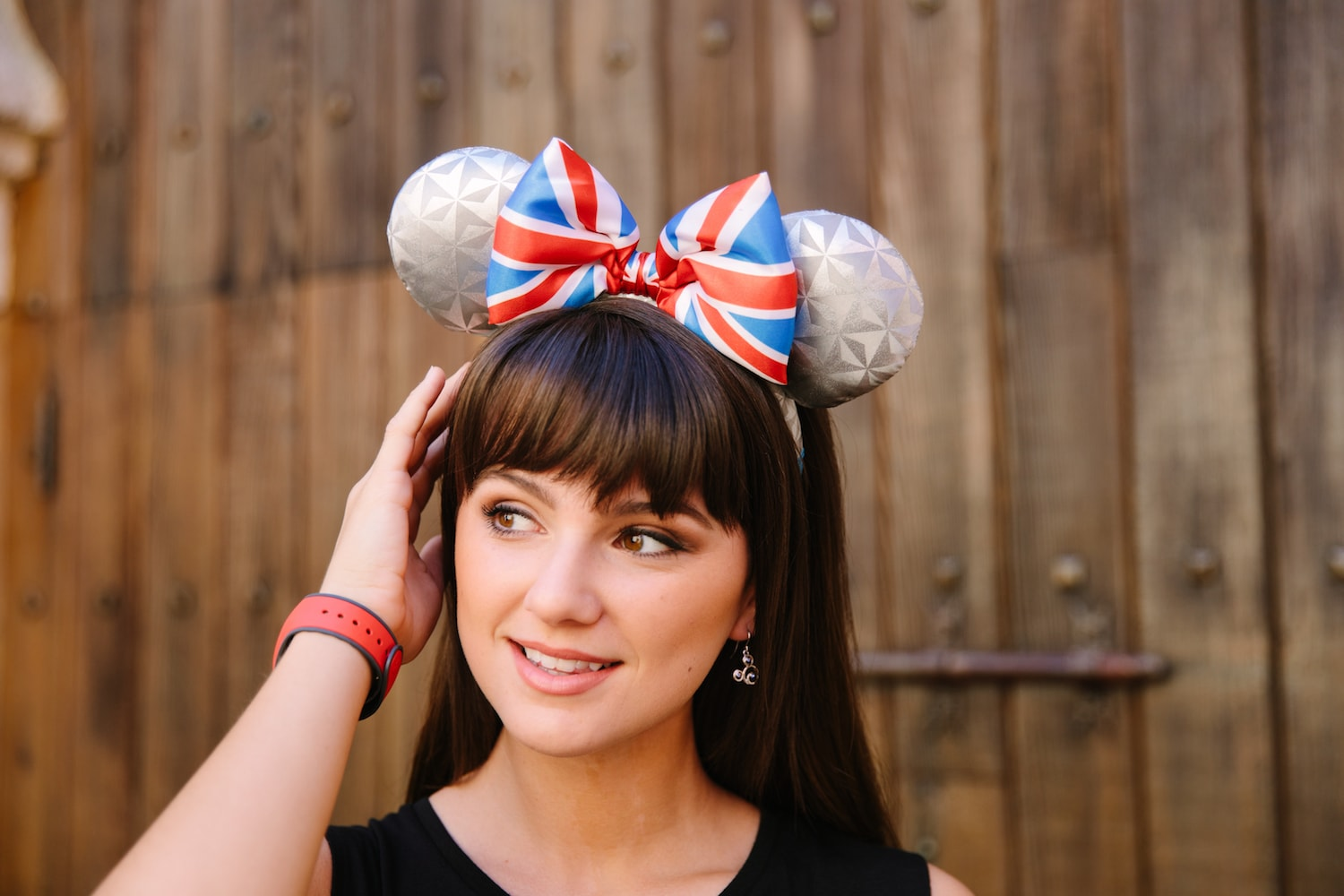 Model wearing Epcot's Earth-inspired Britain Mickey ears