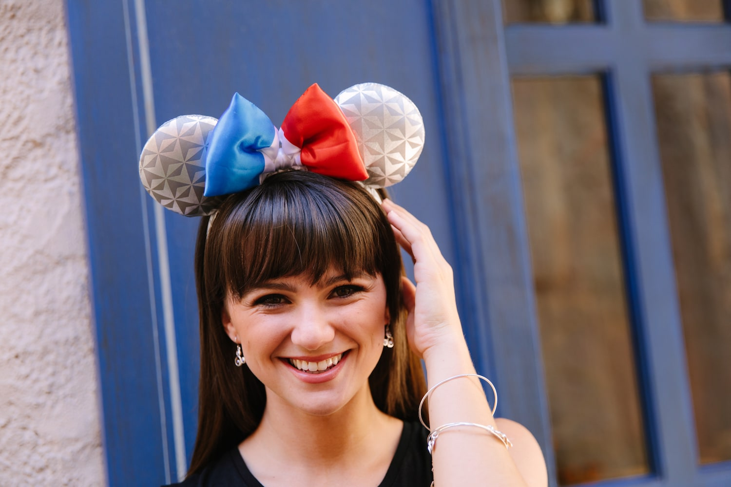 Model wearing Epcot's Earth-inspired France Mickey ears