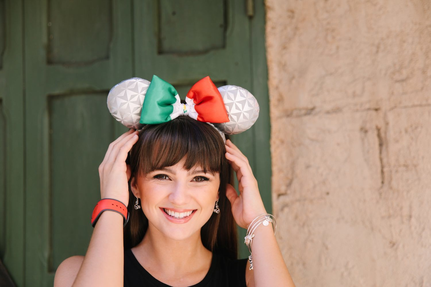 Model wearing Epcot's Earth-inspired France Italy ears