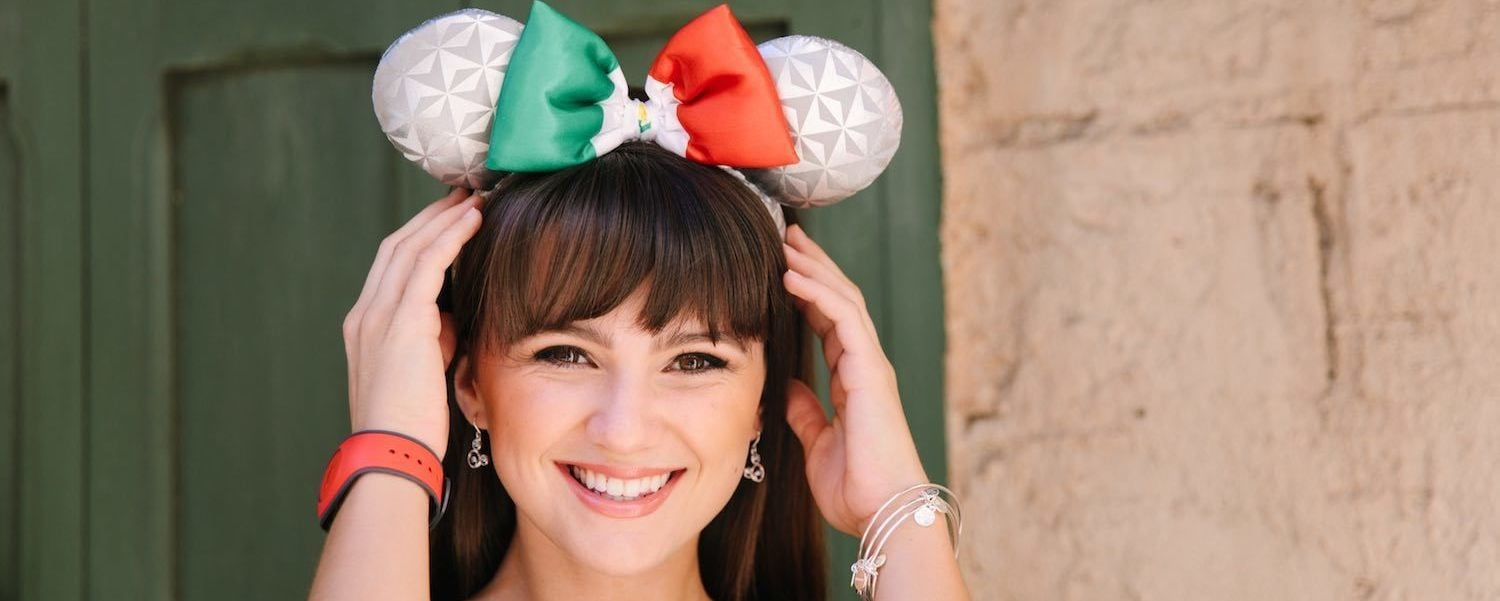 Model wearing Epcot's Earth-inspired Italy Mickey ears