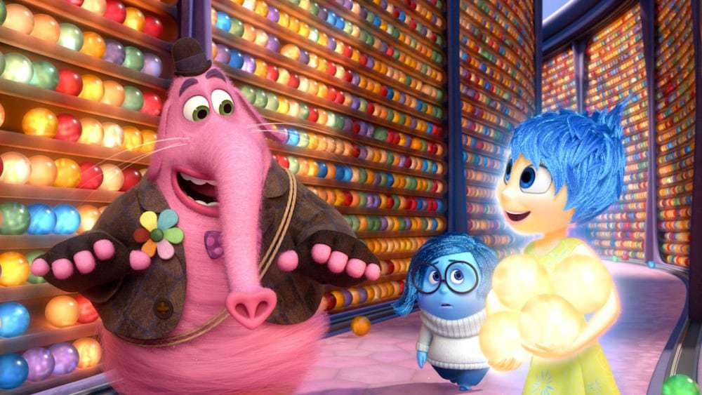 """Bing Bong, Joy and Sadness: Characters from the animated movie """"Inside Out"""""""