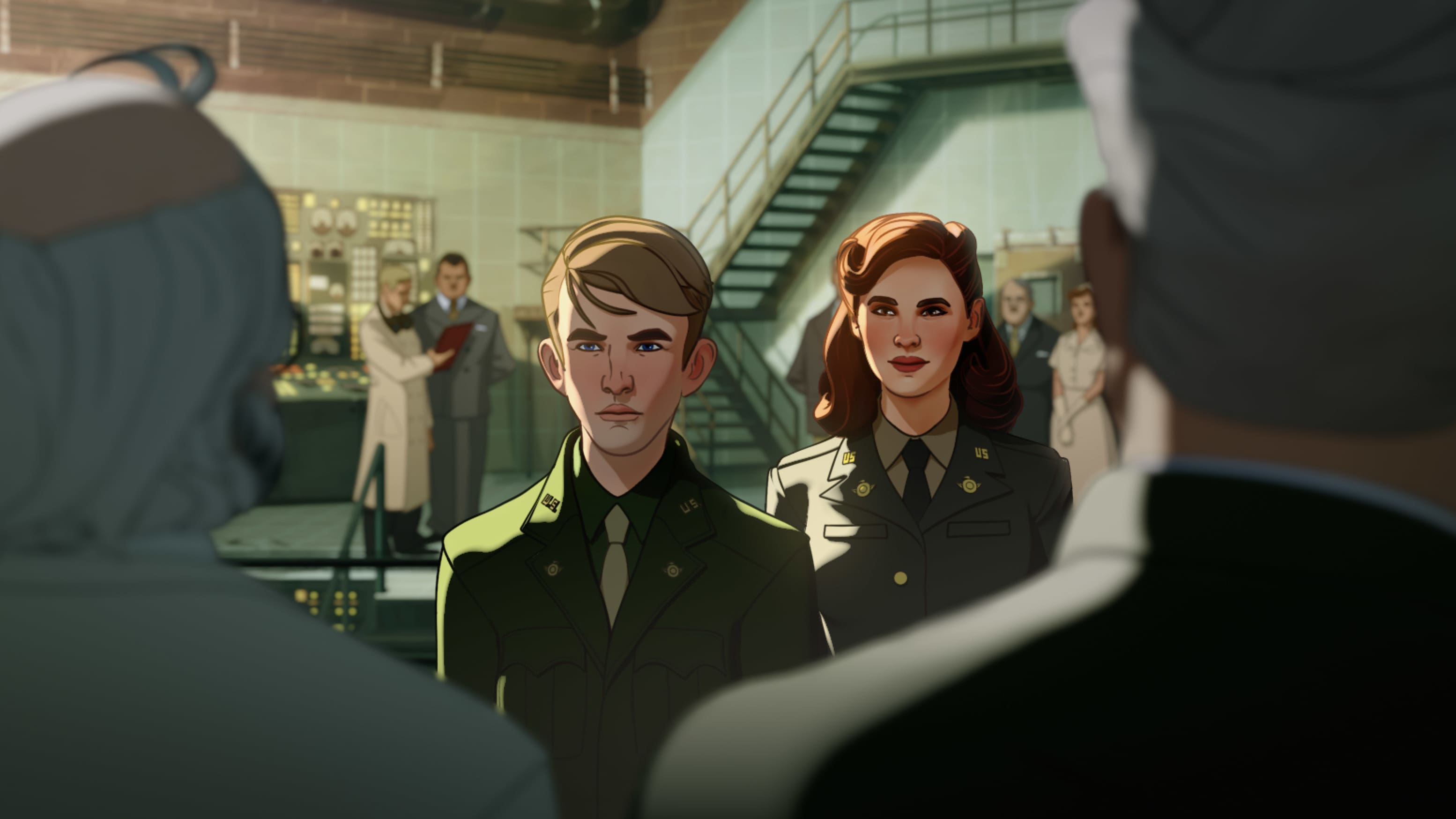 (Center L-R): Skinny Steve Rogers and Captain Carter/Peggy Carter in Marvel Studios' WHAT IF…? exclusively on Disney+. ©Marvel Studios 2021. All Rights Reserved.
