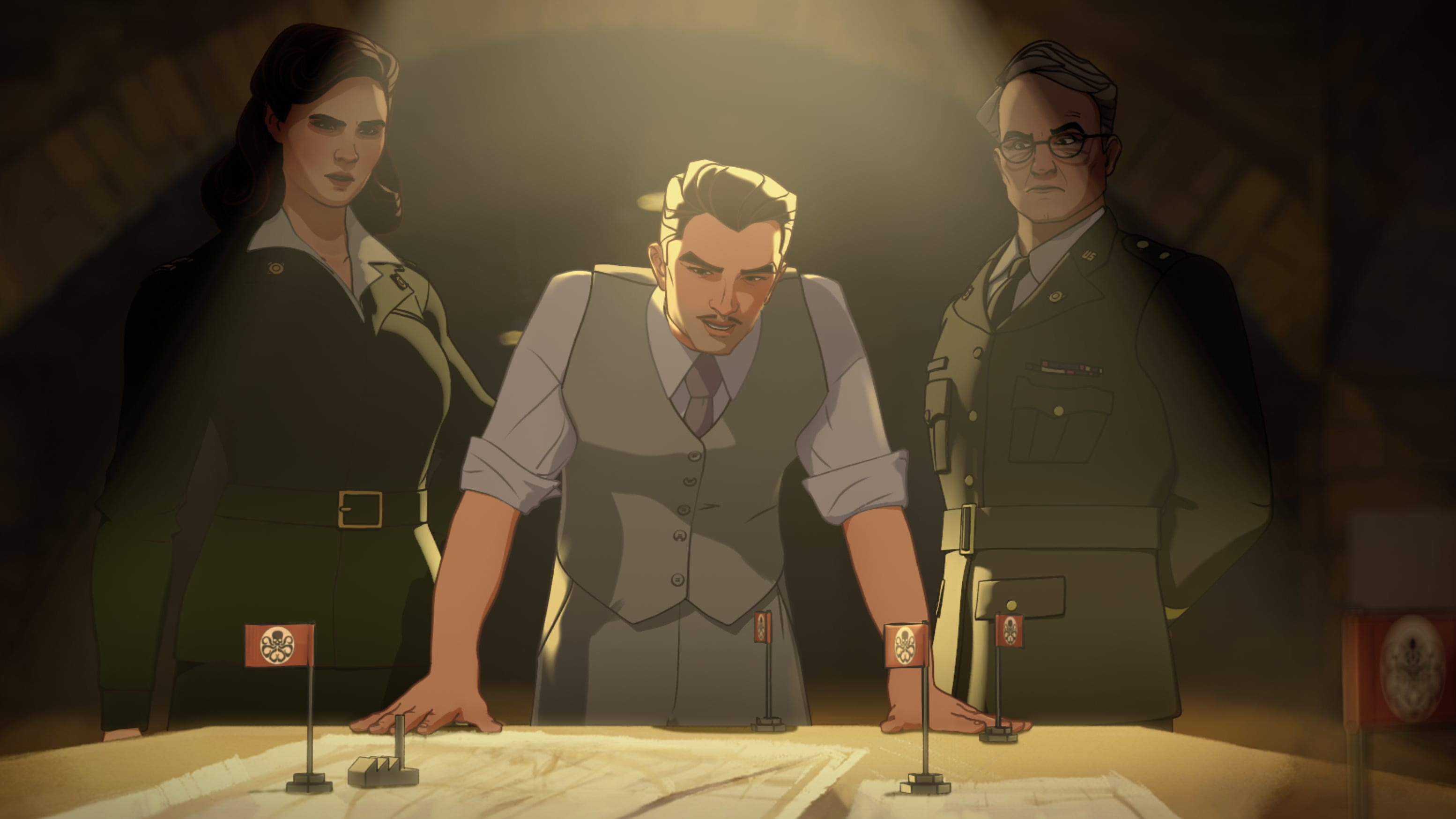 (L-R): Captain Carter/Peggy Carter, Howard Stark and Colonel Flynn in Marvel Studios' WHAT IF…? exclusively on Disney+. ©Marvel Studios 2021. All Rights Reserved.