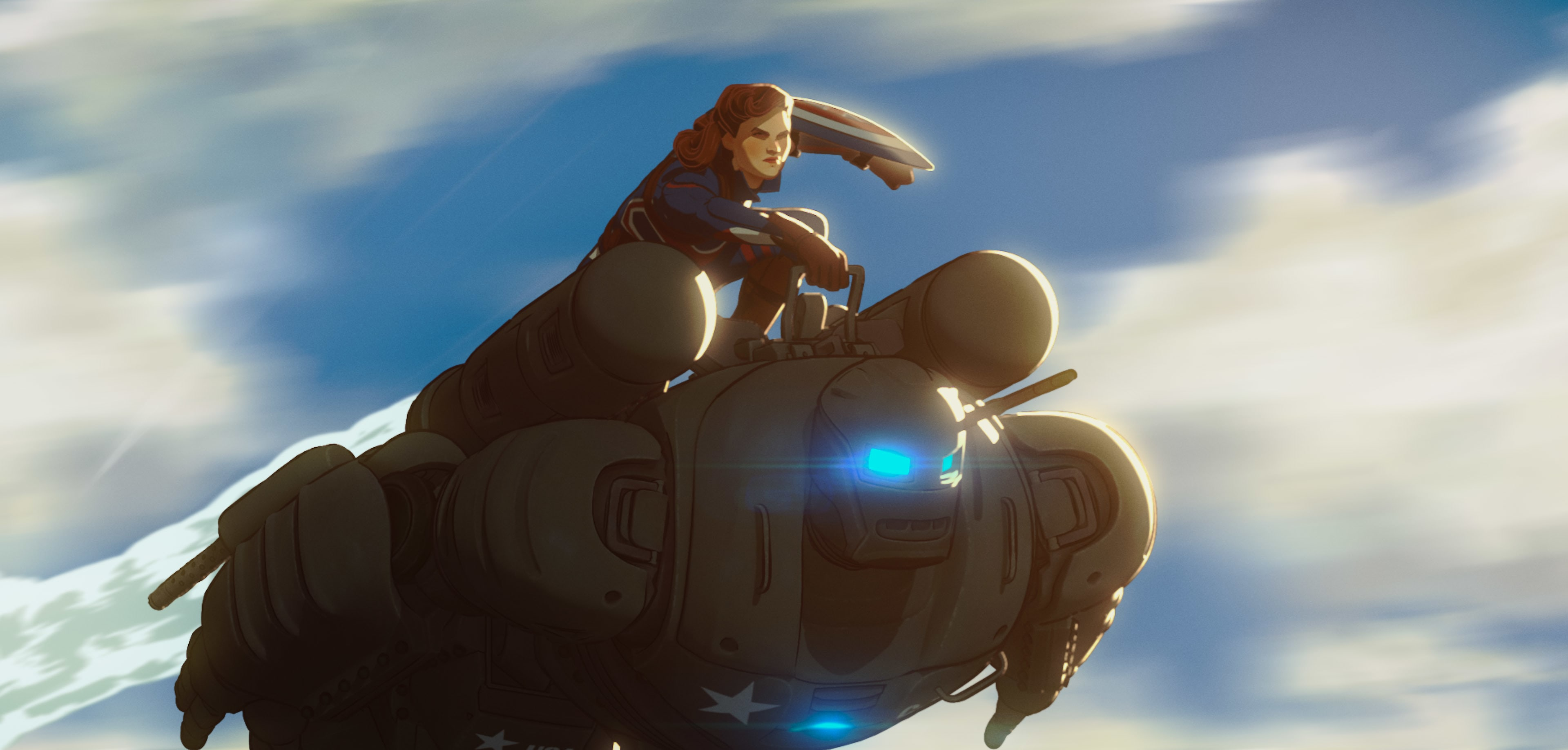 Captain Carter/Peggy Carter and the Hydra Stomper in Marvel Studios' WHAT IF…? exclusively on Disney+. ©Marvel Studios 2021. All Rights Reserved.