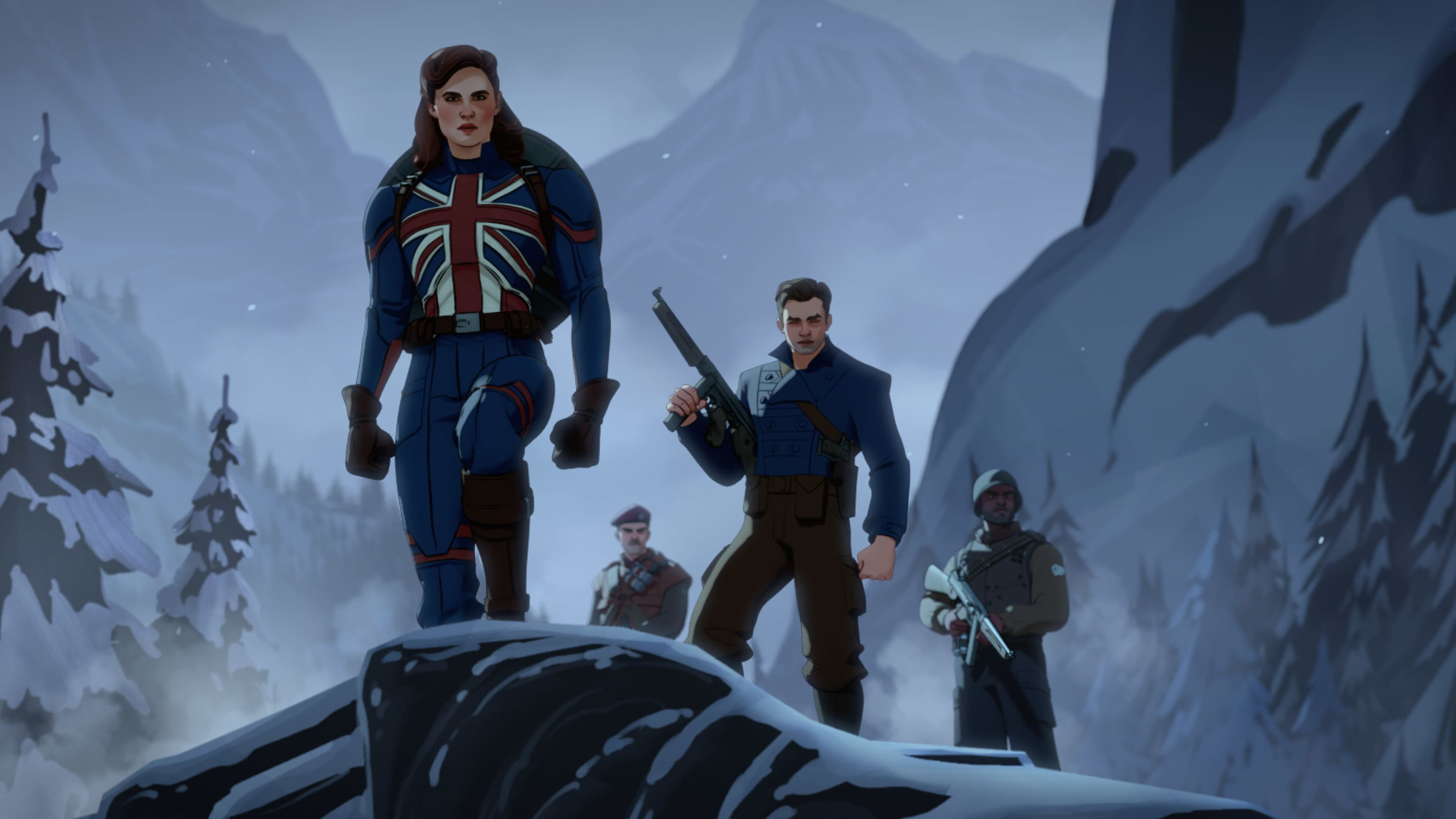 (Counterclockwise from left): Captain Carter/Peggy Carter, Bucky Barnes and the Howling Commandos in Marvel Studios' WHAT IF…? exclusively on Disney+. ©Marvel Studios 2021. All Rights Reserved.