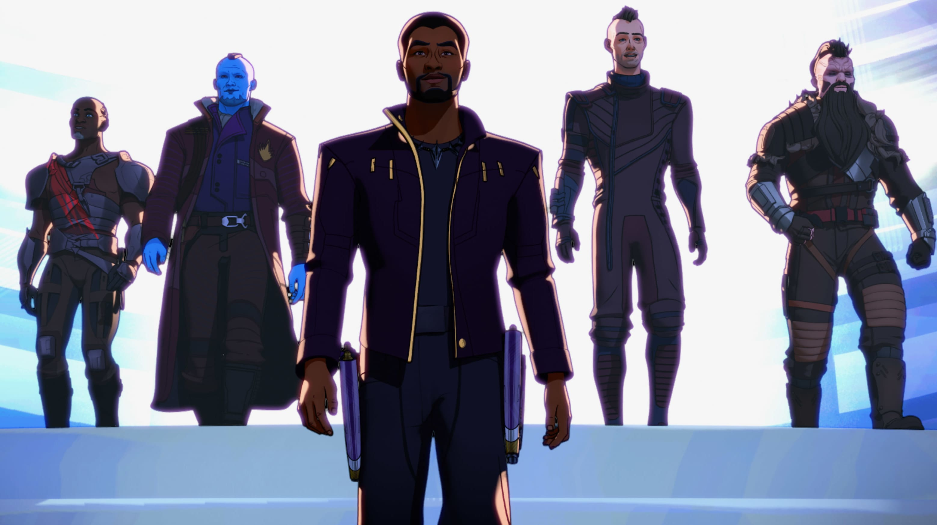 (L-R): Korath, Yondu, T'Challa/Star-Lord, Kraglin and Taserface in Marvel Studios' WHAT IF…? exclusively on Disney+. ©Marvel Studios 2021. All Rights Reserved.