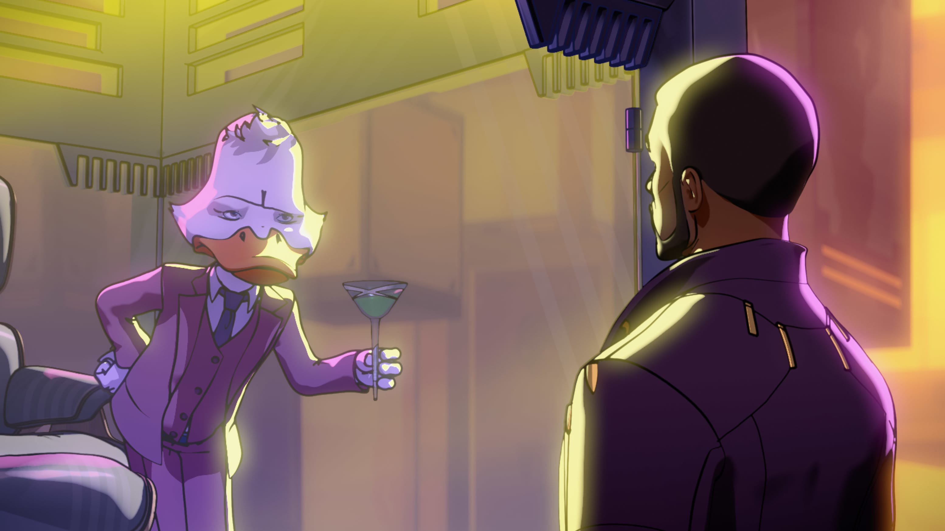 (L-R): Howard the Duck and T'Challa/Star-Lord in Marvel Studios' WHAT IF…? exclusively on Disney+. ©Marvel Studios 2021. All Rights Reserved.
