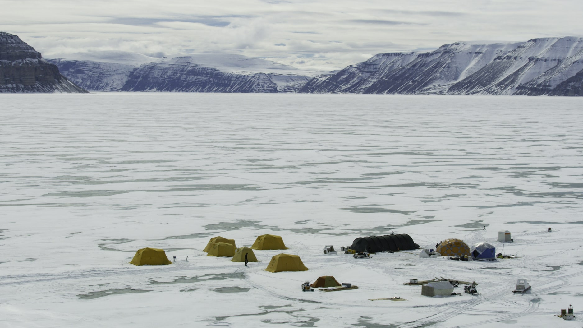 The Planet of the Whales film crew camped for nearly thirty days on the Arctic sea ice to film the little experienced lives of narwhals and belugas. (National Geographic for Disney+/Thomas Miller)