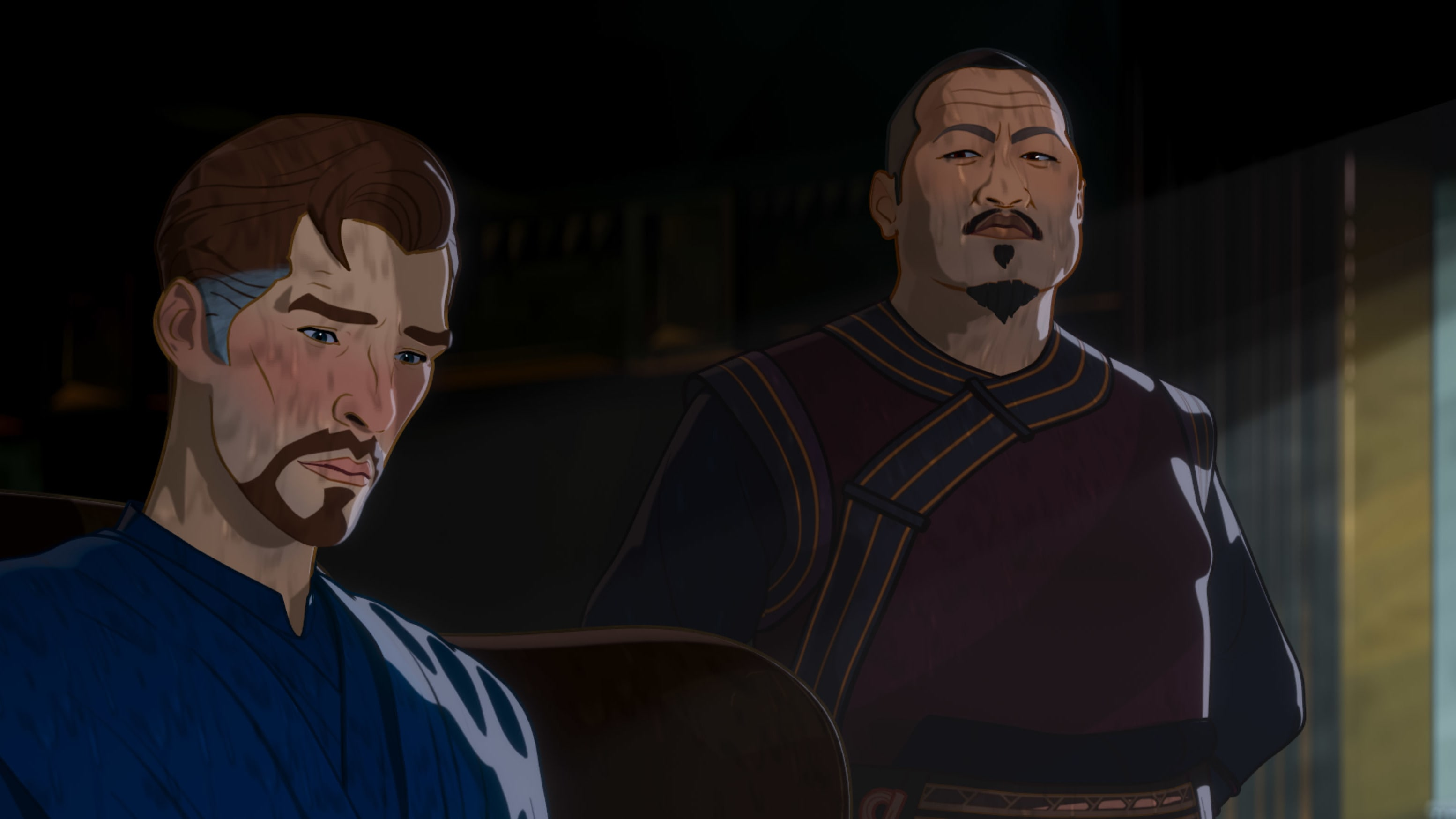 (L-R): Doctor Strange and Wong in Marvel Studios' WHAT IF…? exclusively on Disney+. ©Marvel Studios 2021. All Rights Reserved.