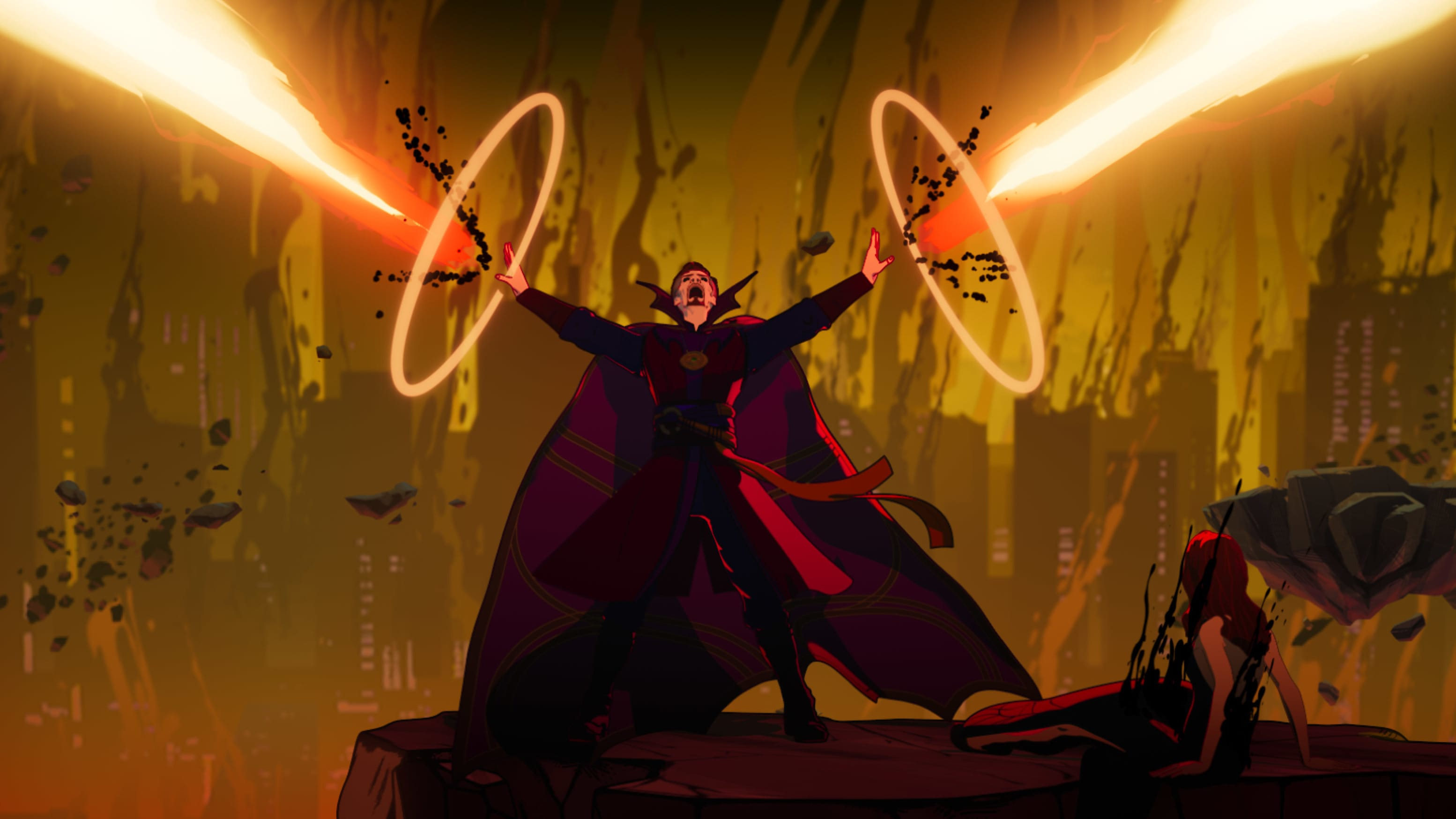 (L-R): Doctor Strange Supreme and Christine Palmer in Marvel Studios' WHAT IF…? exclusively on Disney+. ©Marvel Studios 2021. All Rights Reserved.