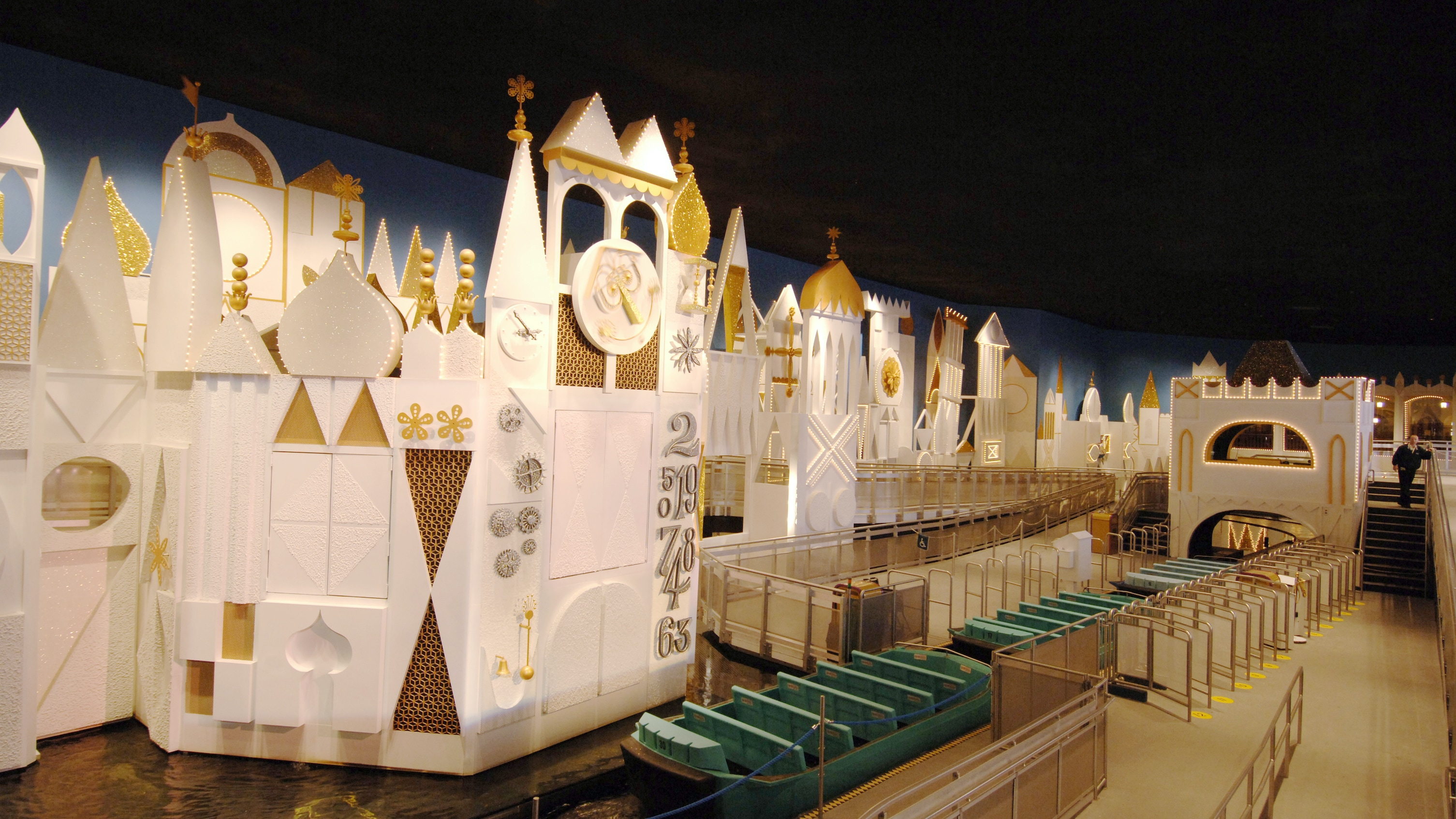 """Image of the castle within the interior of the """"it's a small world ride""""."""