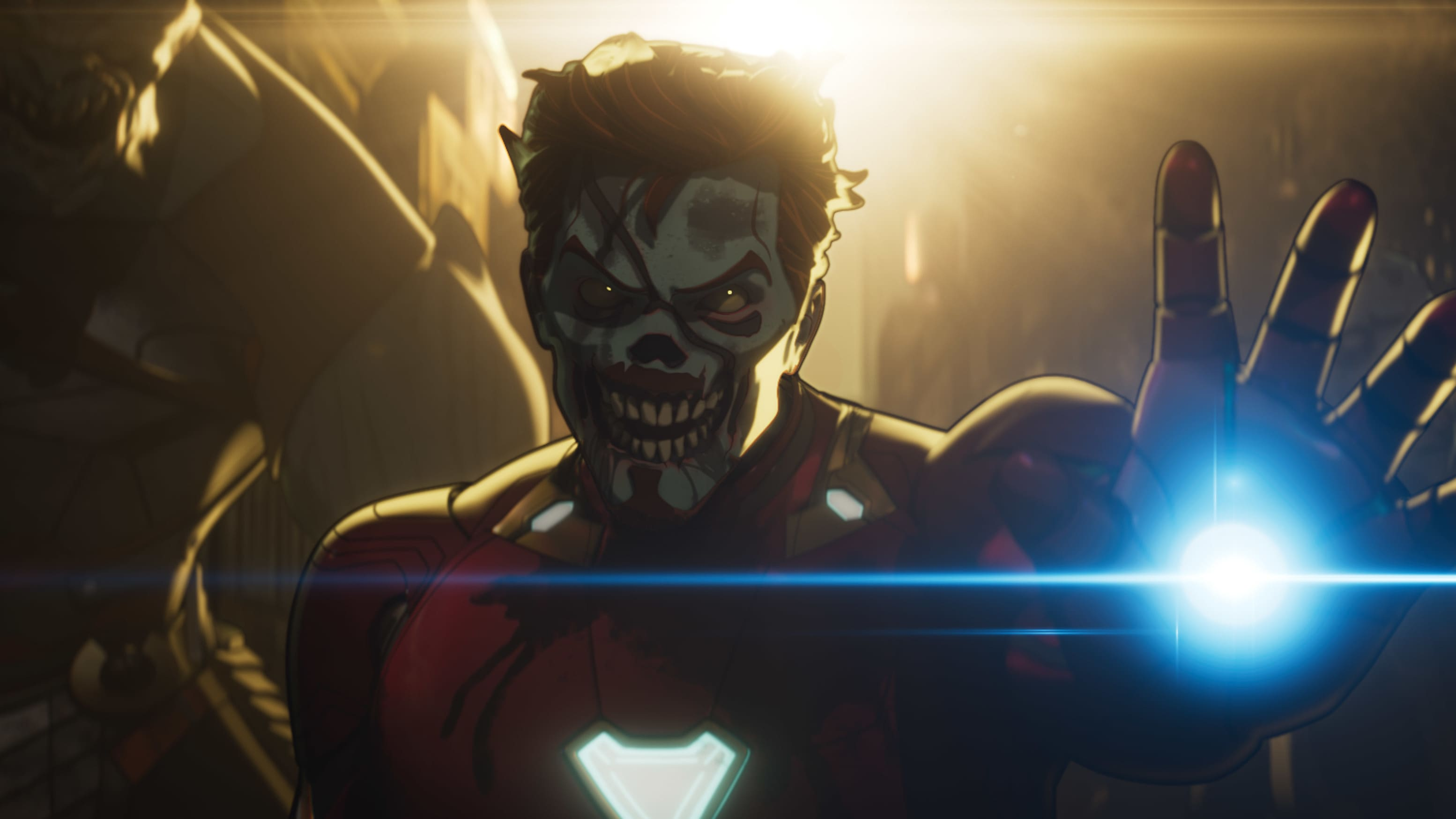 (L-R): Cull Obsidian and Zombie Iron Man in Marvel Studios' WHAT IF…? exclusively on Disney+. ©Marvel Studios 2021. All Rights Reserved.