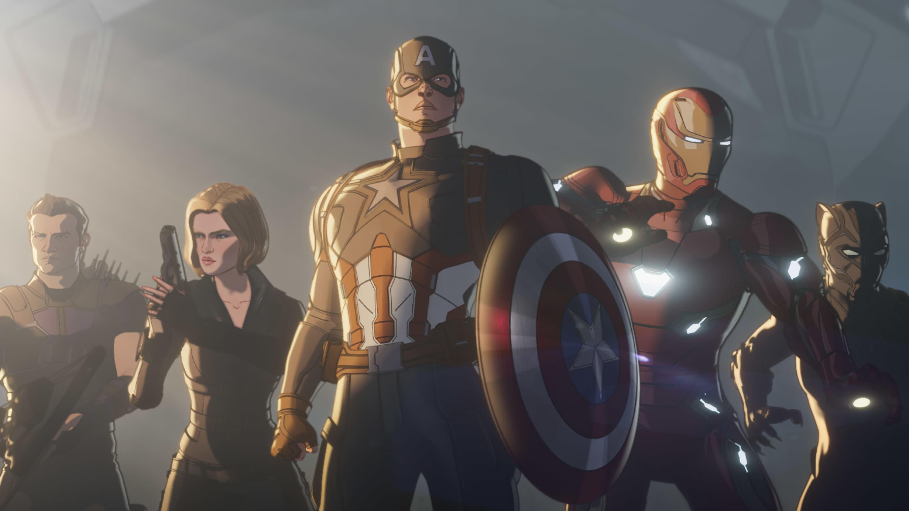 (L-R): Hawkeye/Clint Barton, Black Widow/Natasha Romanoff, Captain America/Steve Rogers, Iron Man/Tony Stark and Black Panther/T'Challa in Marvel Studios' WHAT IF…? exclusively on Disney+. ©Marvel Studios 2021. All Rights Reserved.