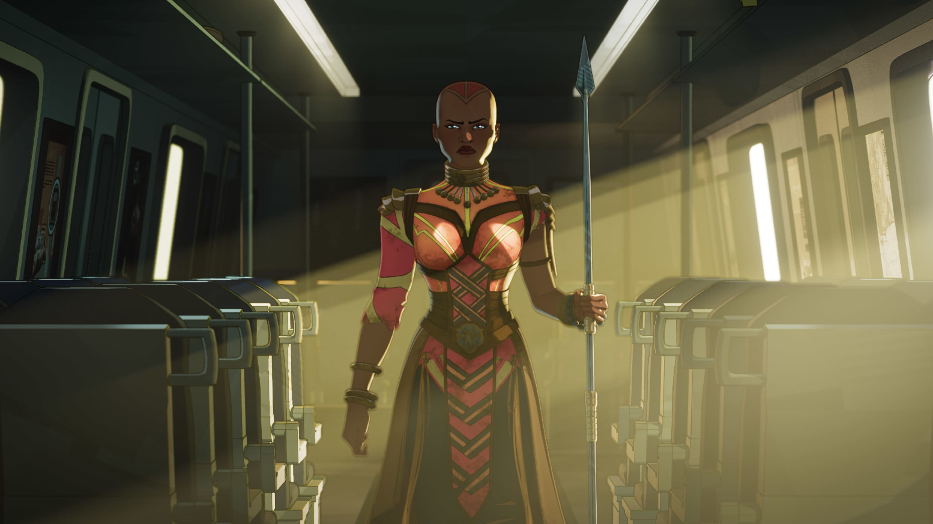 Okoye in Marvel Studios' WHAT IF…? exclusively on Disney+. ©Marvel Studios 2021. All Rights Reserved.