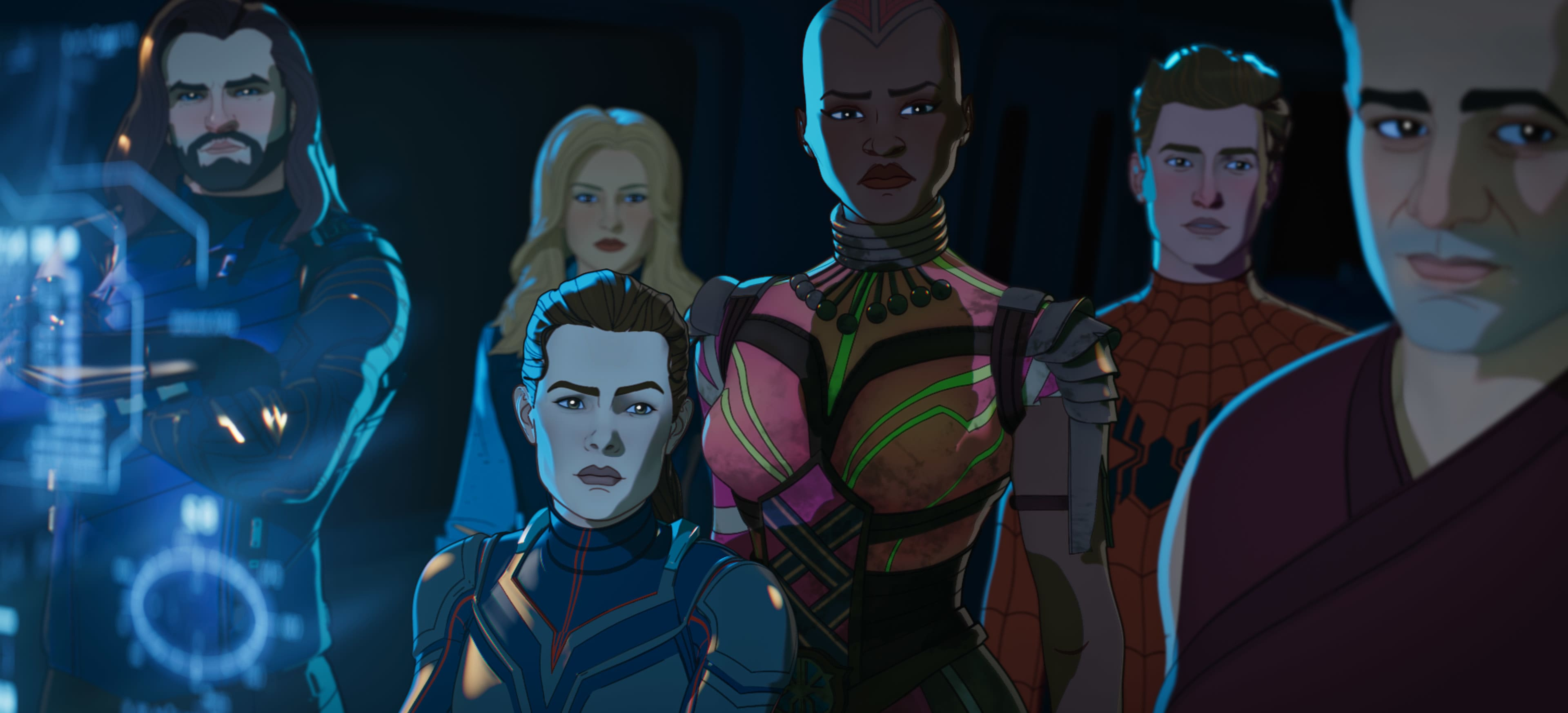 (L-R): Bucky Barnes, Sharon Carter, The Wasp/Hope Van Dyne, Okoye, Zombie Hunter Spider-Man/Peter Parker and Bruce Banner in Marvel Studios' WHAT IF…? exclusively on Disney+. ©Marvel Studios 2021. All Rights Reserved.