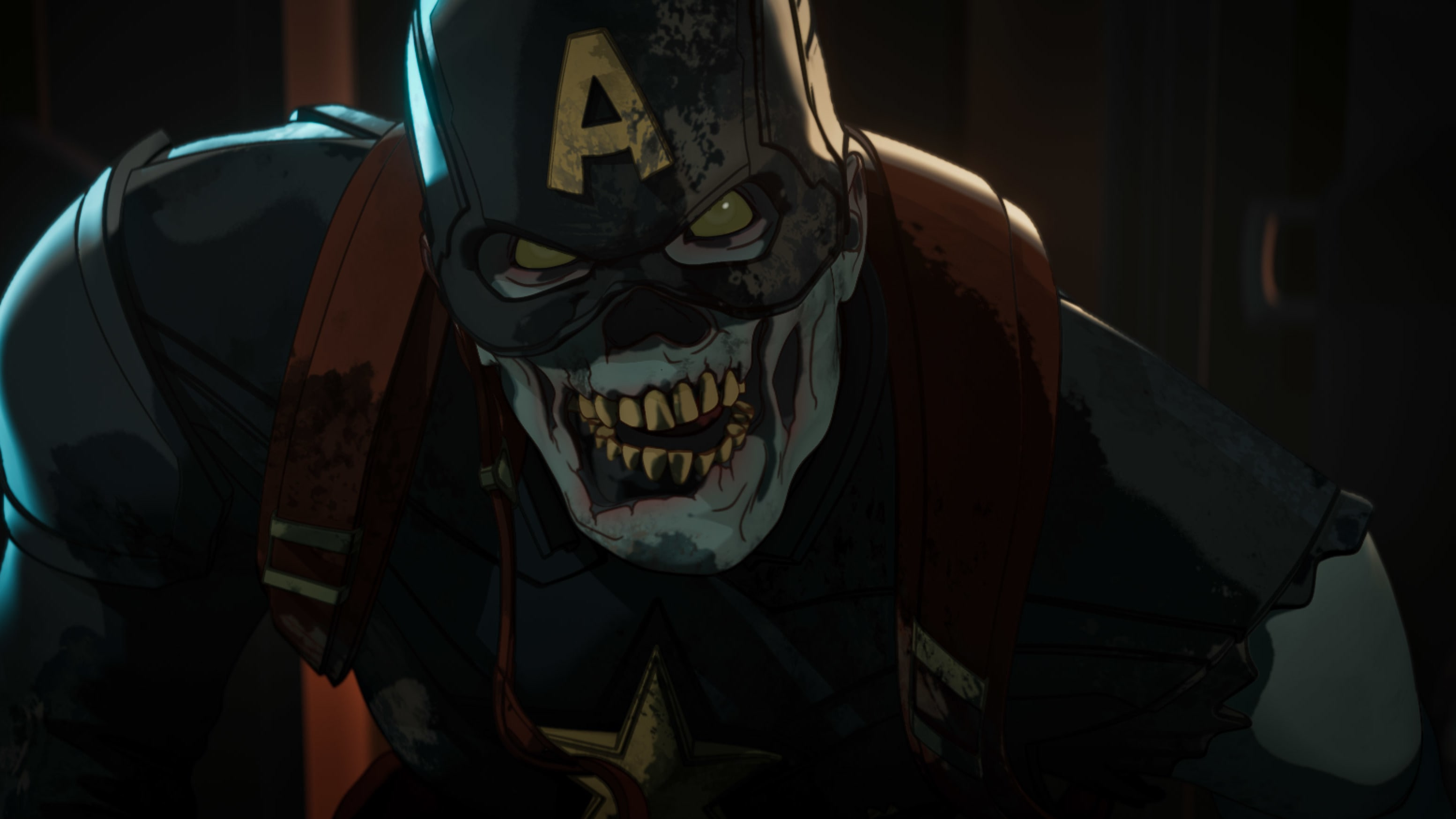 Zombie Captain America in Marvel Studios' WHAT IF…? exclusively on Disney+. ©Marvel Studios 2021. All Rights Reserved.
