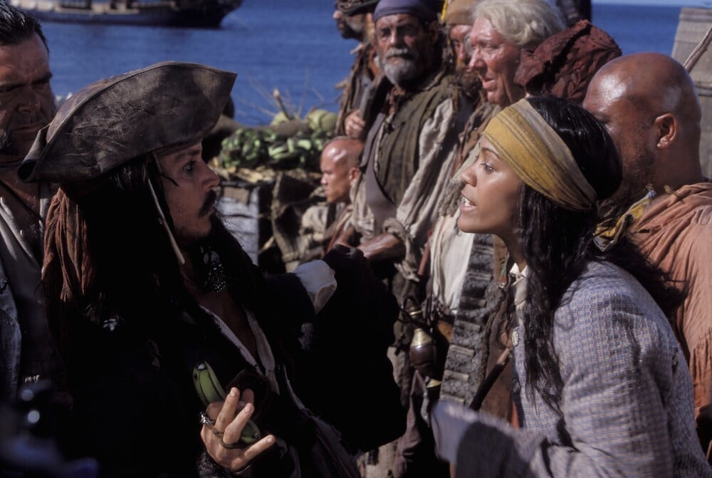 """Jack Sparrow inspecting his ship's crew in """"Pirates of the Caribbean"""""""