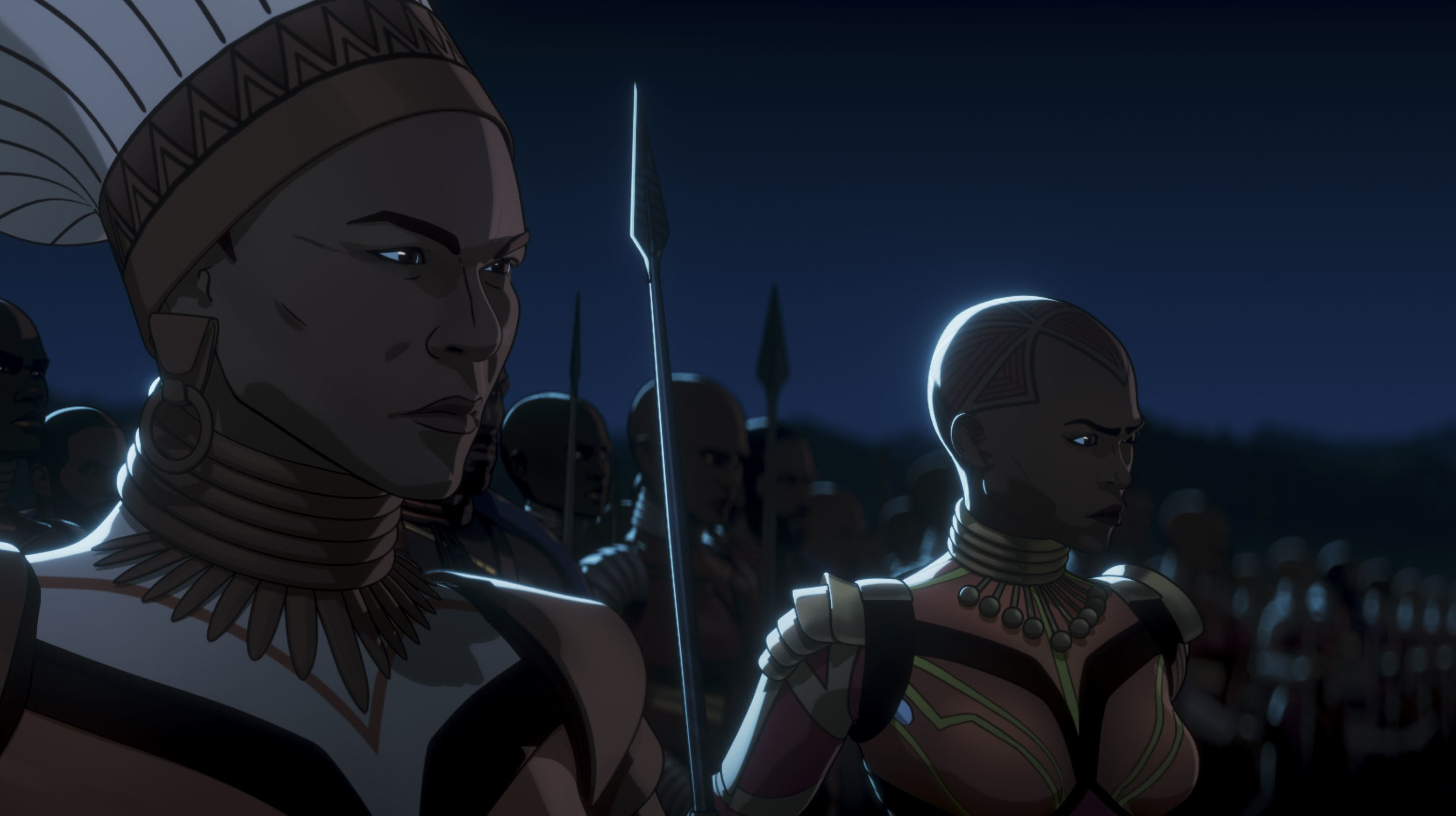 Queen General Ramonda, Okoye, and the Dora Milaje in Marvel Studios' WHAT IF…? exclusively on Disney+. ©Marvel Studios 2021. All Rights Reserved.