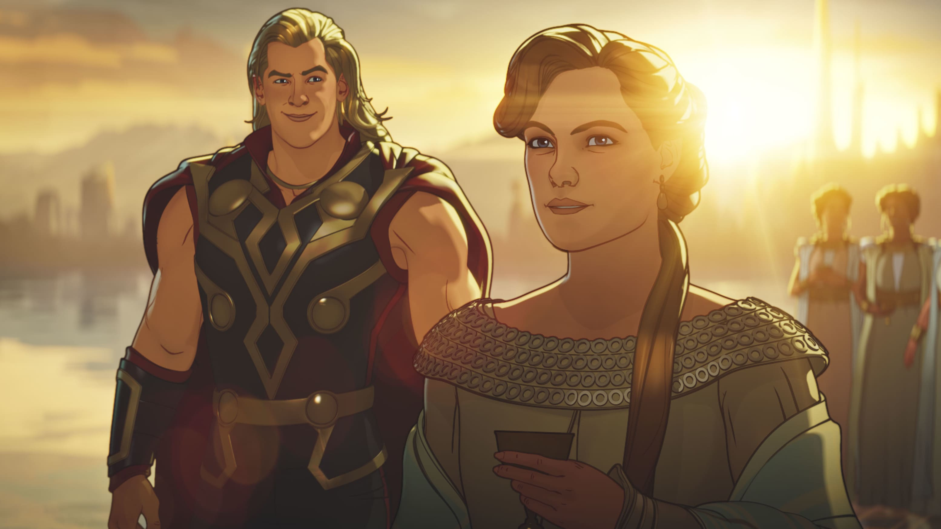 Party Thor and Frigga in Marvel Studios' WHAT IF…? exclusively on Disney+. ©Marvel Studios 2021. All Rights Reserved.