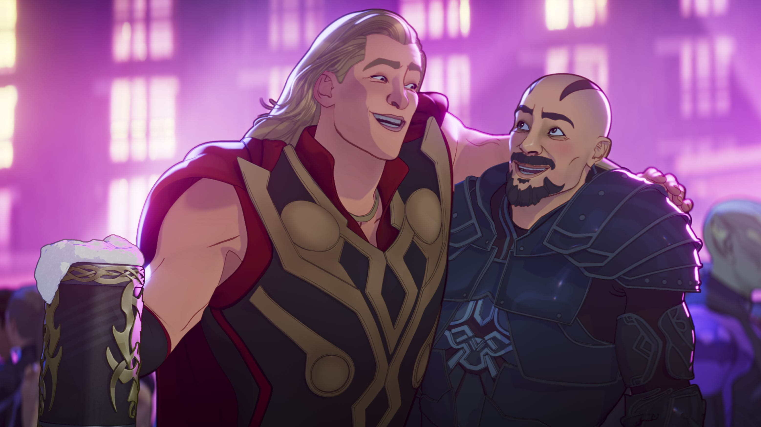 Party Thor and Skurge in Marvel Studios' WHAT IF…? exclusively on Disney+. ©Marvel Studios 2021. All Rights Reserved.