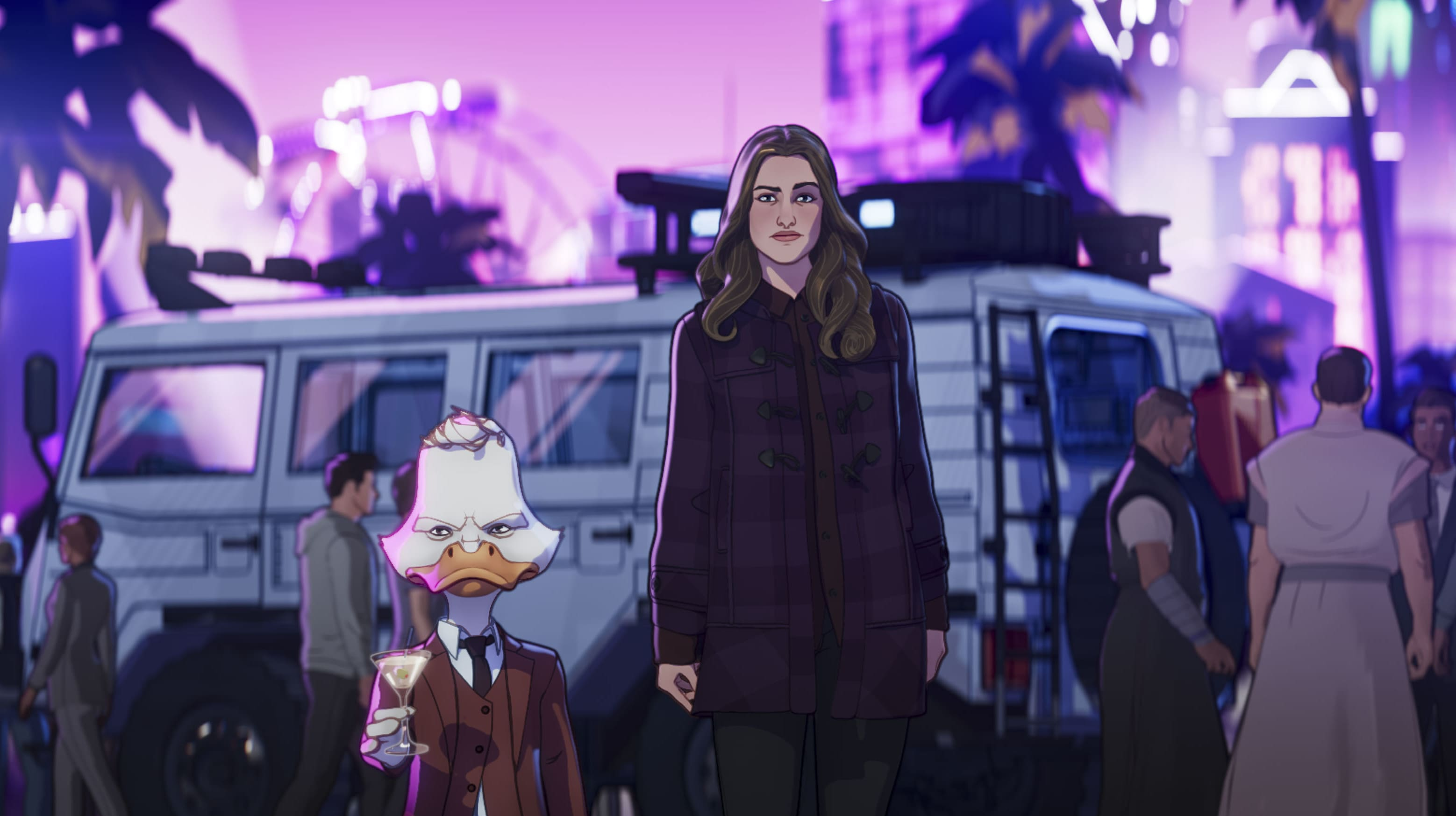 Howard the Duck and Darcy in Marvel Studios' WHAT IF…? exclusively on Disney+. ©Marvel Studios 2021. All Rights Reserved.