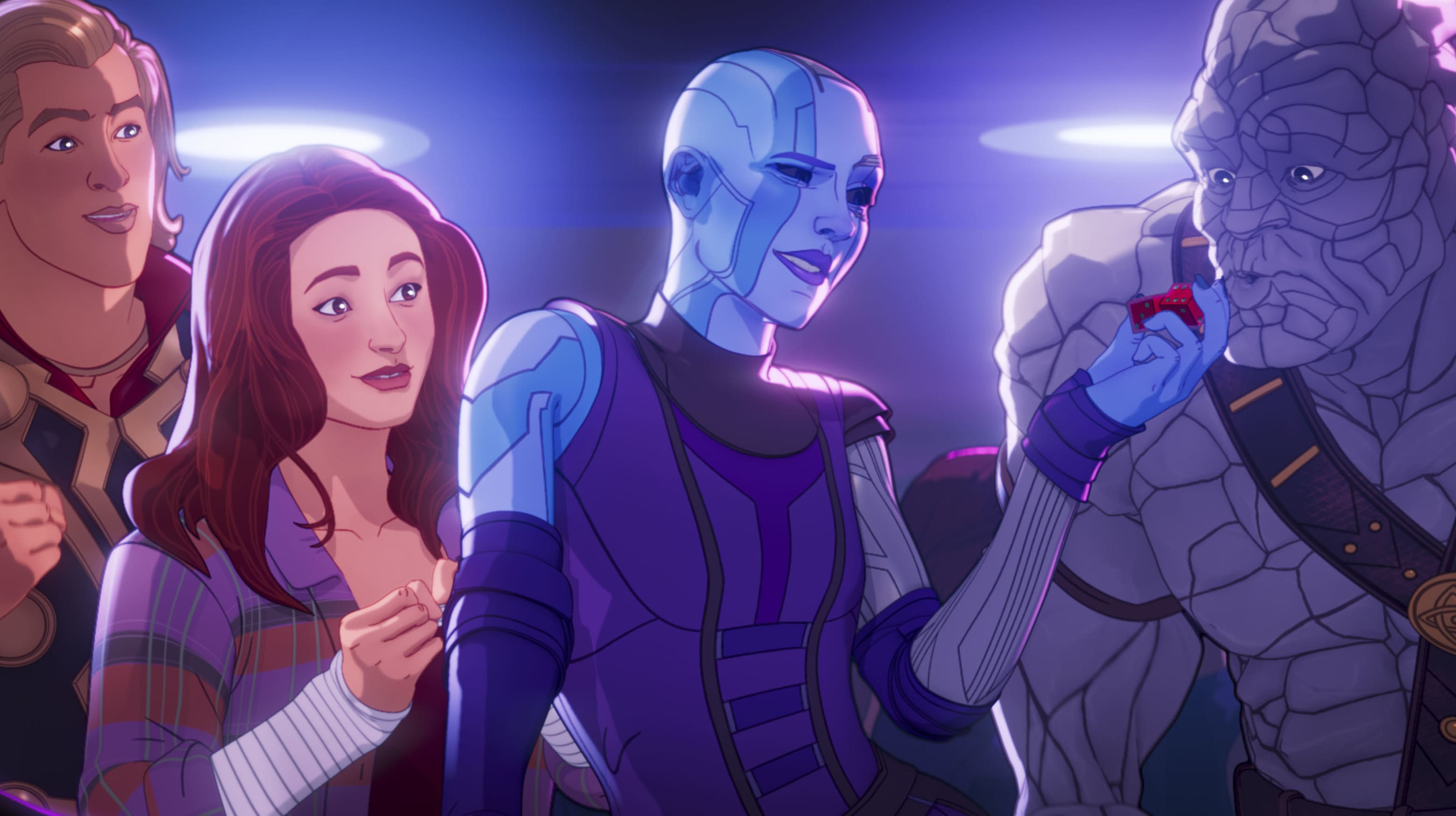 Party Thor, Jane Foster Nebula, and Korg in Marvel Studios' WHAT IF…? exclusively on Disney+. ©Marvel Studios 2021. All Rights Reserved.