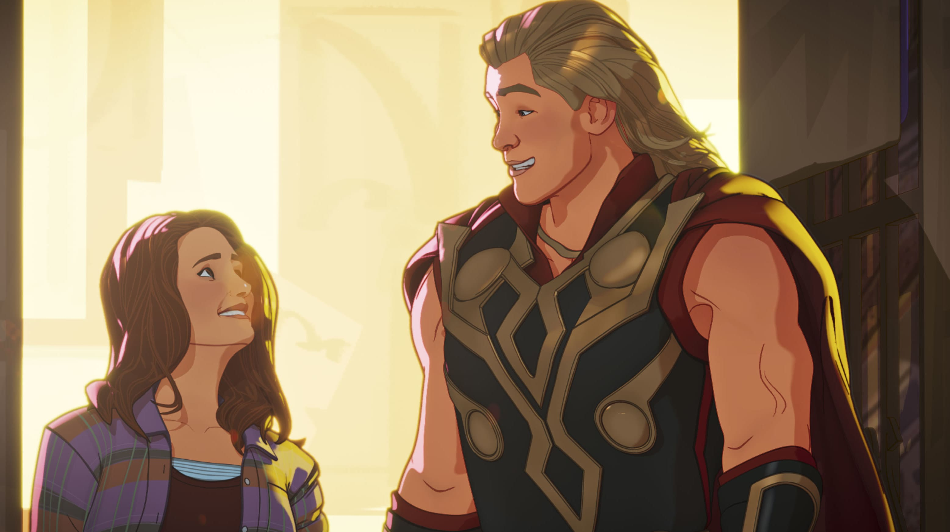 Jane Foster and Party Thor in Marvel Studios' WHAT IF…? exclusively on Disney+. ©Marvel Studios 2021. All Rights Reserved.