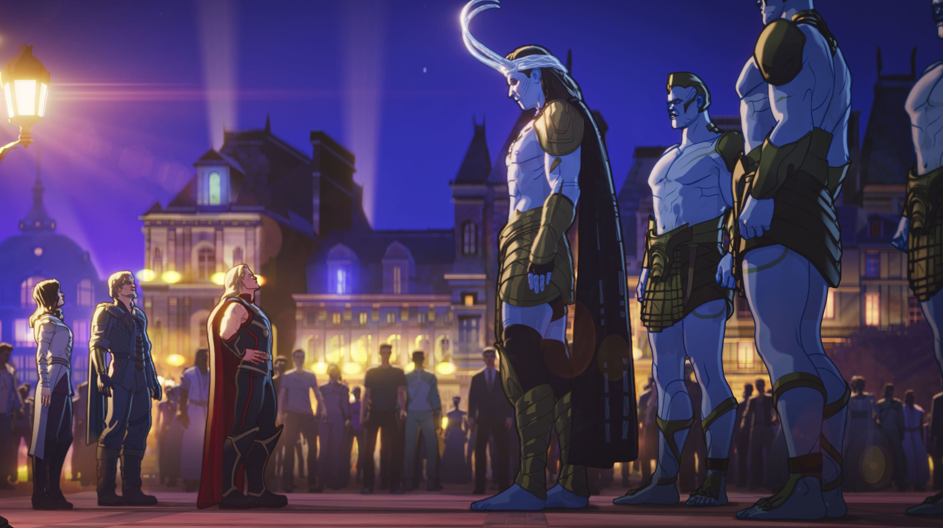 Lady Sif, Fandral, Party Thor, and Frost Giant Loki in Marvel Studios' WHAT IF…? exclusively on Disney+. ©Marvel Studios 2021. All Rights Reserved.