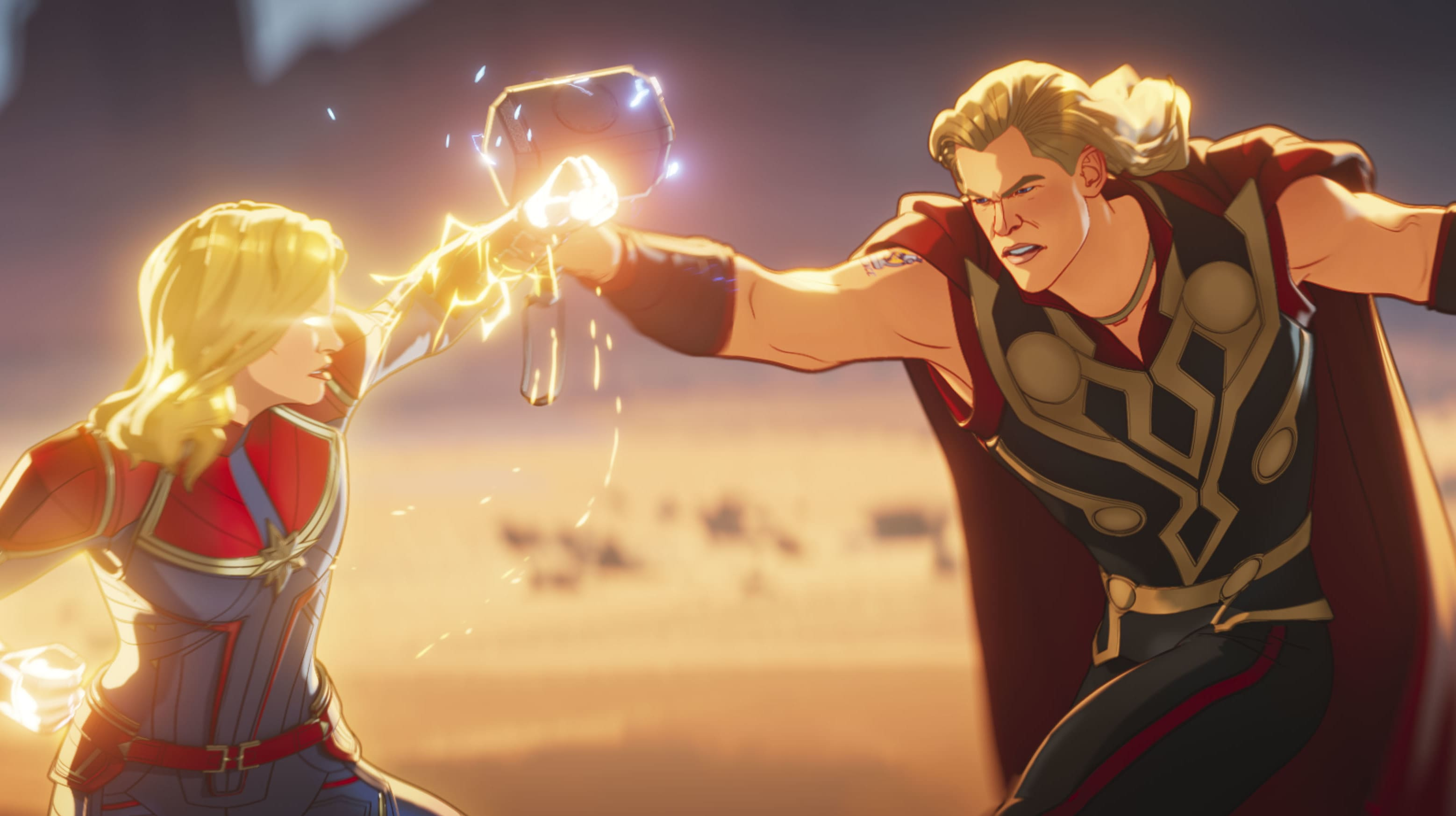 Captain Marvel and Party Thor in Marvel Studios' WHAT IF…? exclusively on Disney+. ©Marvel Studios 2021. All Rights Reserved.