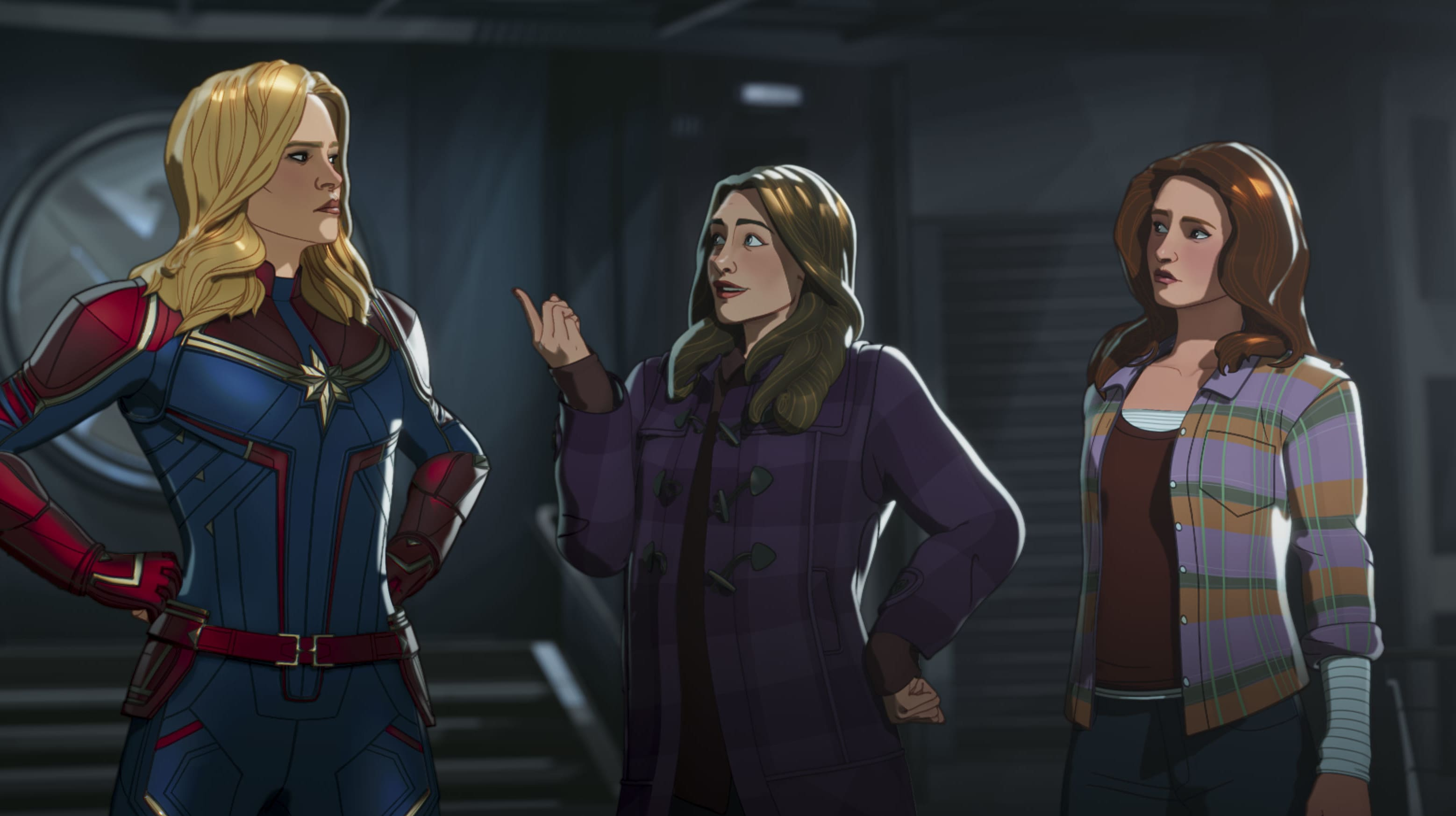 Captain Marvel, Darcy, and Jane Foster in Marvel Studios' WHAT IF…? exclusively on Disney+. ©Marvel Studios 2021. All Rights Reserved.