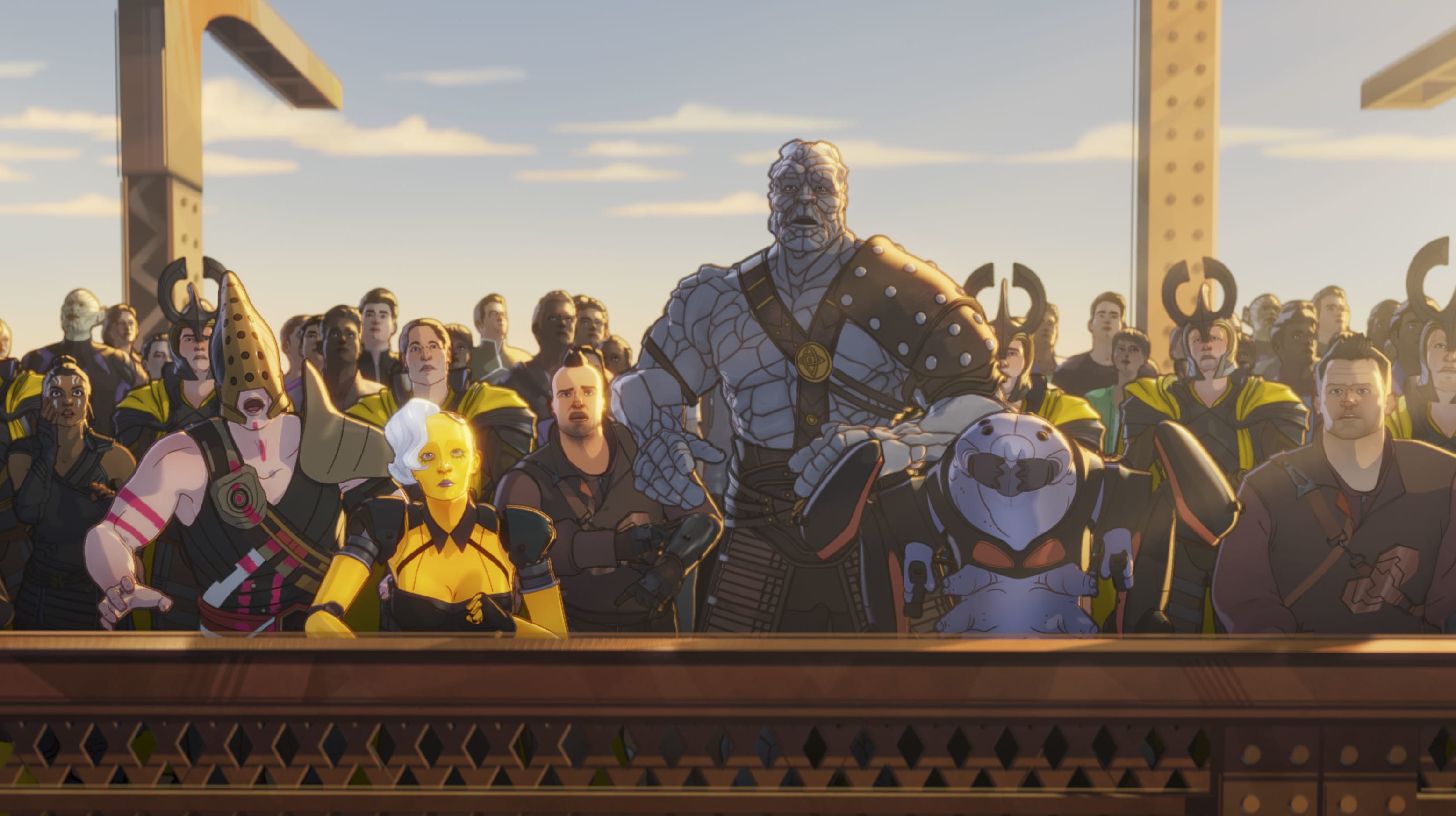 Korg and Miek in Marvel Studios' WHAT IF…? exclusively on Disney+. ©Marvel Studios 2021. All Rights Reserved.
