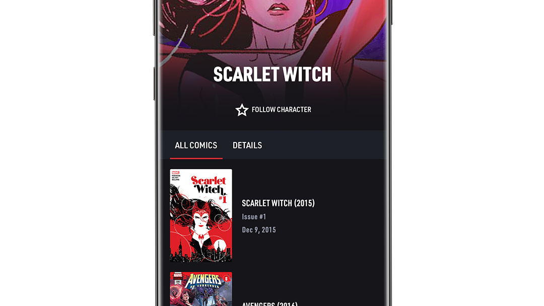Scarlet Witch Character App Screen Image