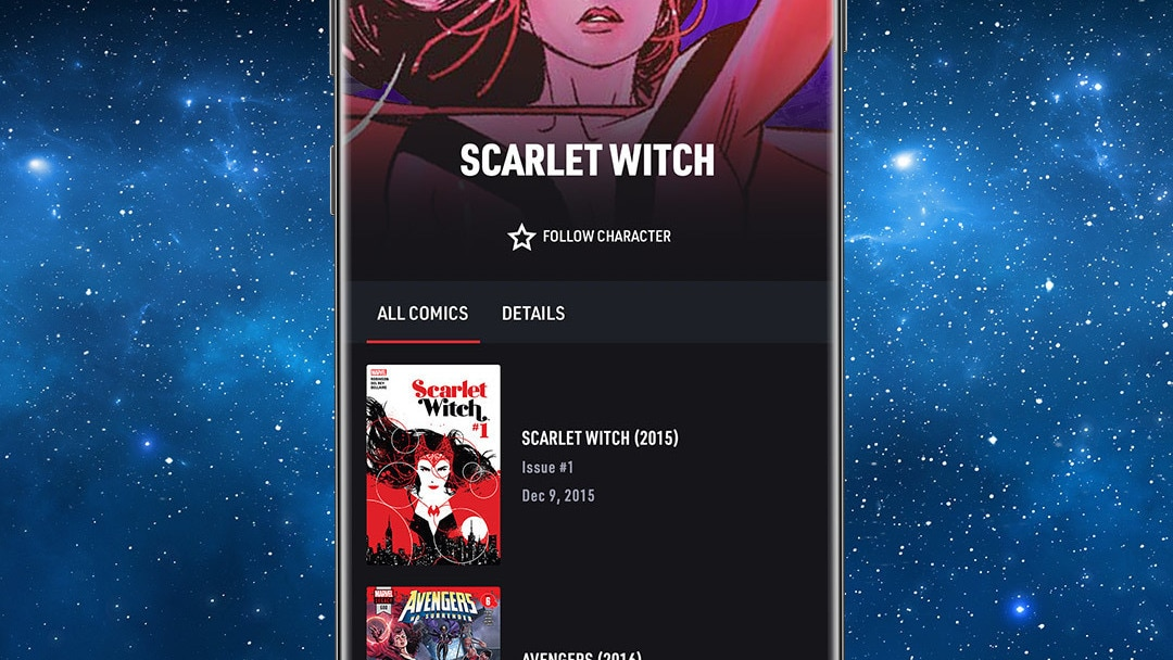Character App Screen Image on Space Background