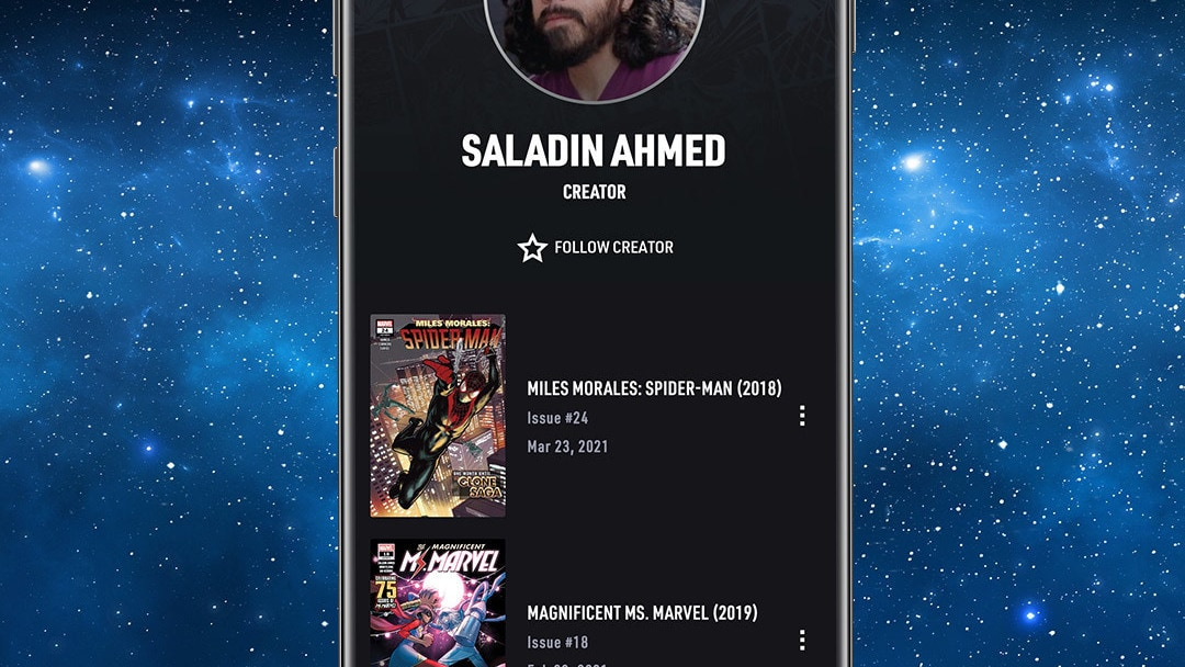Creator App Screen Image on Space Background