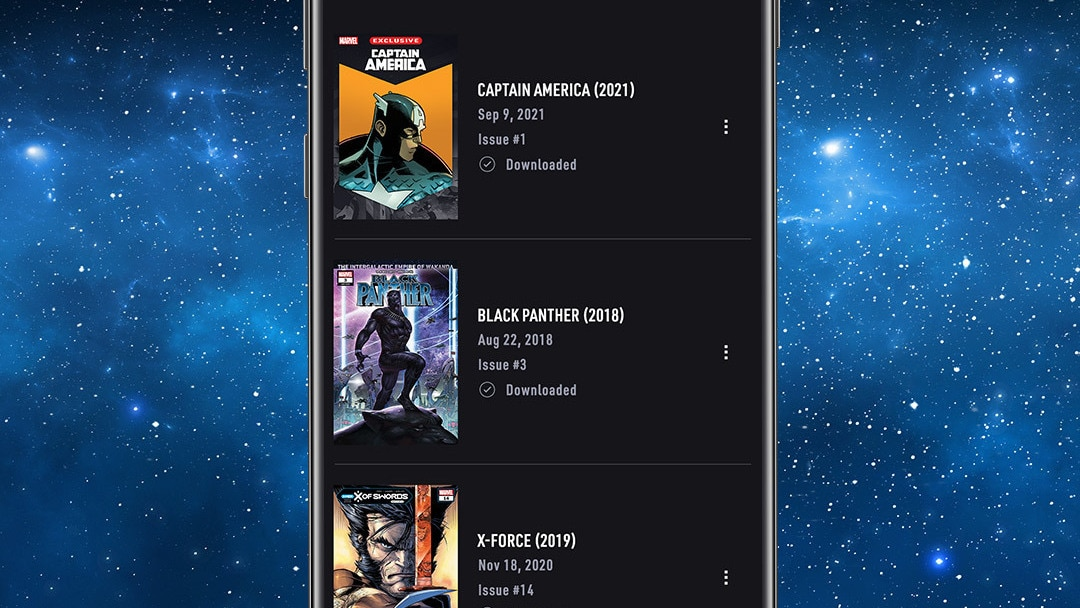 Downloads App Screen Image on Space background