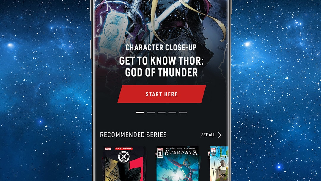 Thor App Screen Image on Space Background