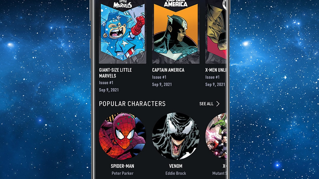 Infinity Comics Carousel App Screen Image on Space Background