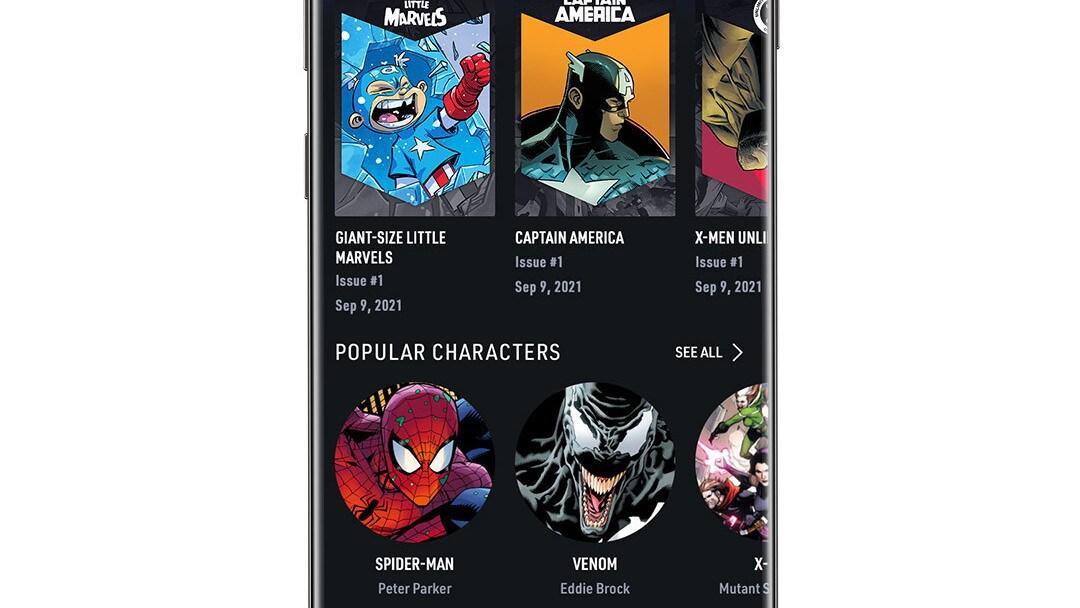 Infinity Comics Carousel App Screen Image on White Background