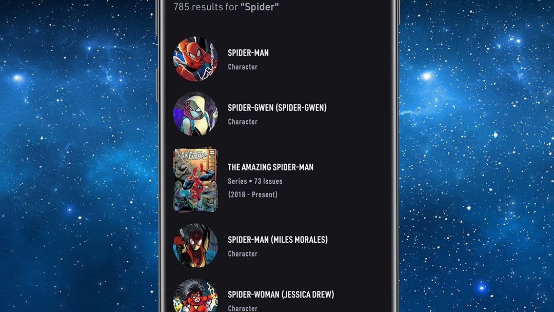 Search Spider App Screen Image on Space Background