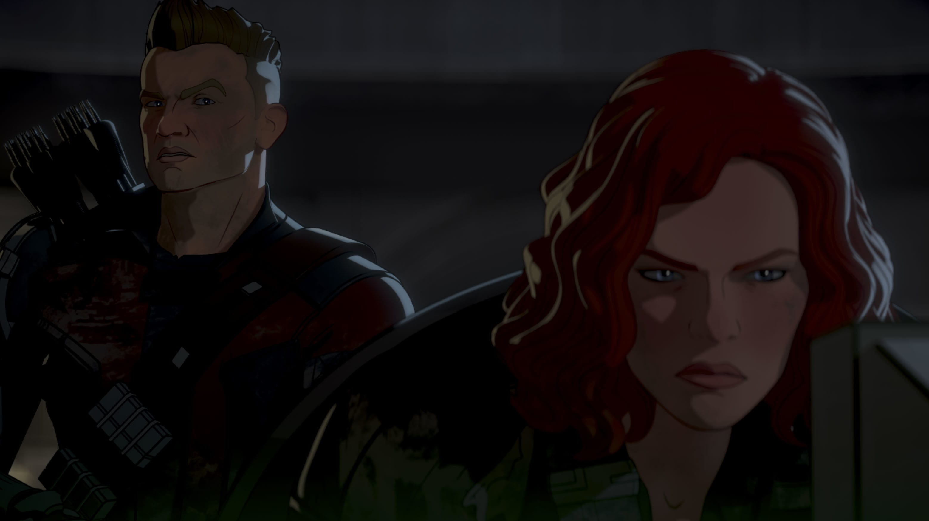Post-Apocalyptic Hawkeye and Post-Apocalyptic Black Widow in Marvel Studios' WHAT IF...? exclusively on Disney+. ©Marvel Studios 2021. All Rights Reserved.