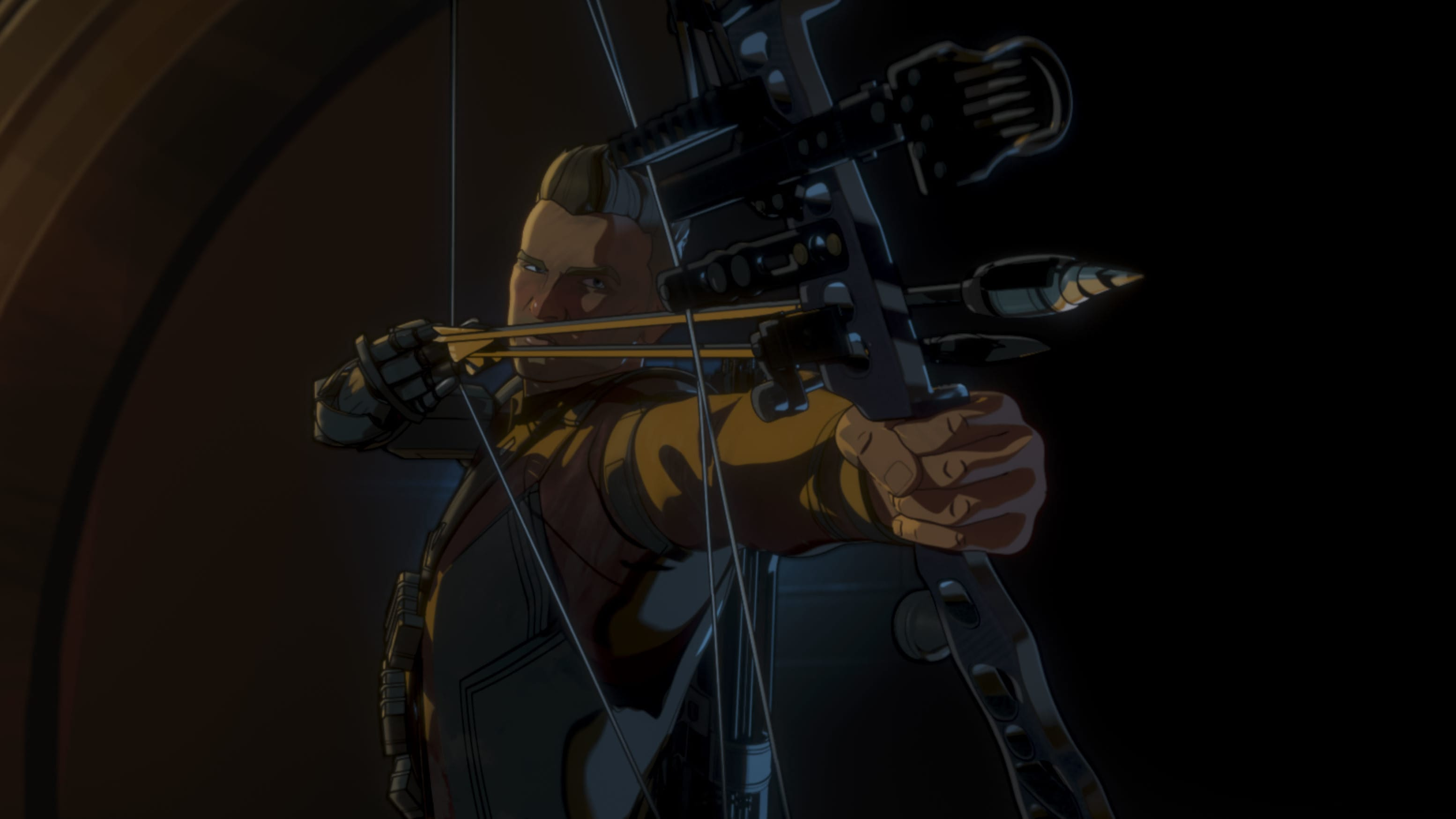 Post-Apocalyptic Hawkeye in Marvel Studios' WHAT IF...? exclusively on Disney+. ©Marvel Studios 2021. All Rights Reserved.