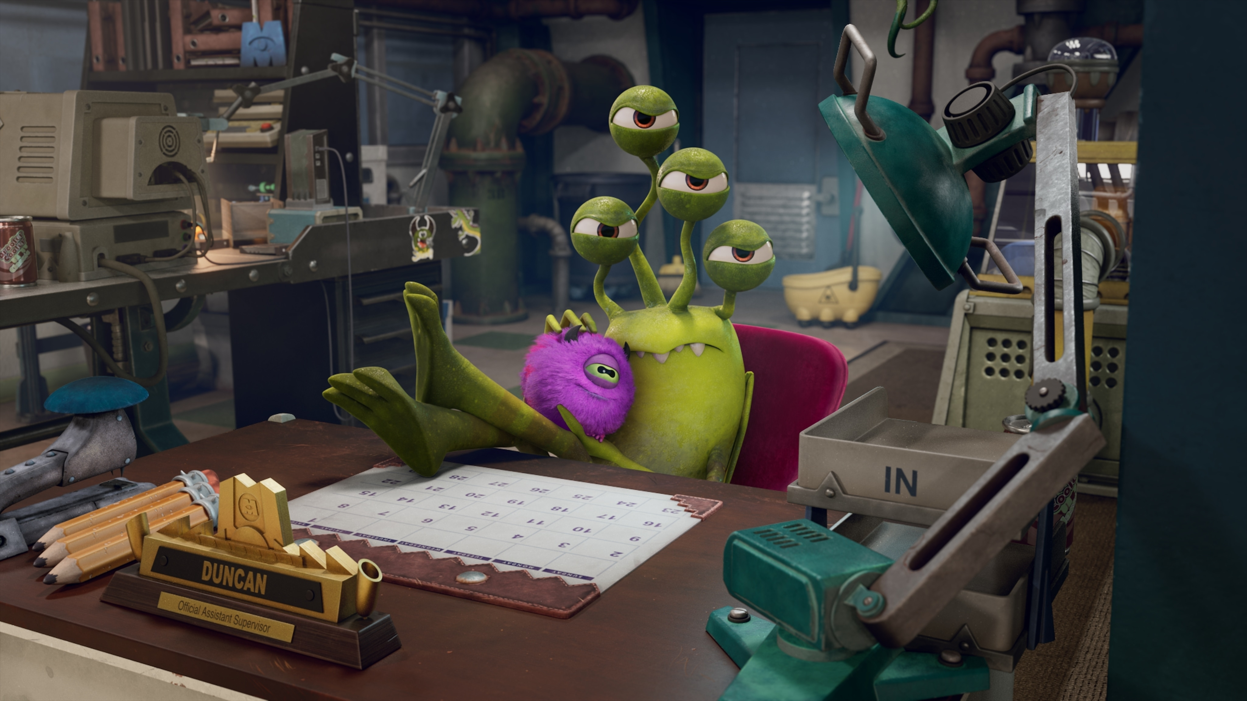 """MONSTERS AT WORK - """"Meet Mift"""" - When Tylor is initiated into MIFT during a bizarre ritual, he wants nothing more than to get away from his odd coworkers.  But when an emergency strikes Monsters, Inc., MIFT kicks into action and Tylor develops a hint of respect for the misfit team. (Disney) DUNCAN"""