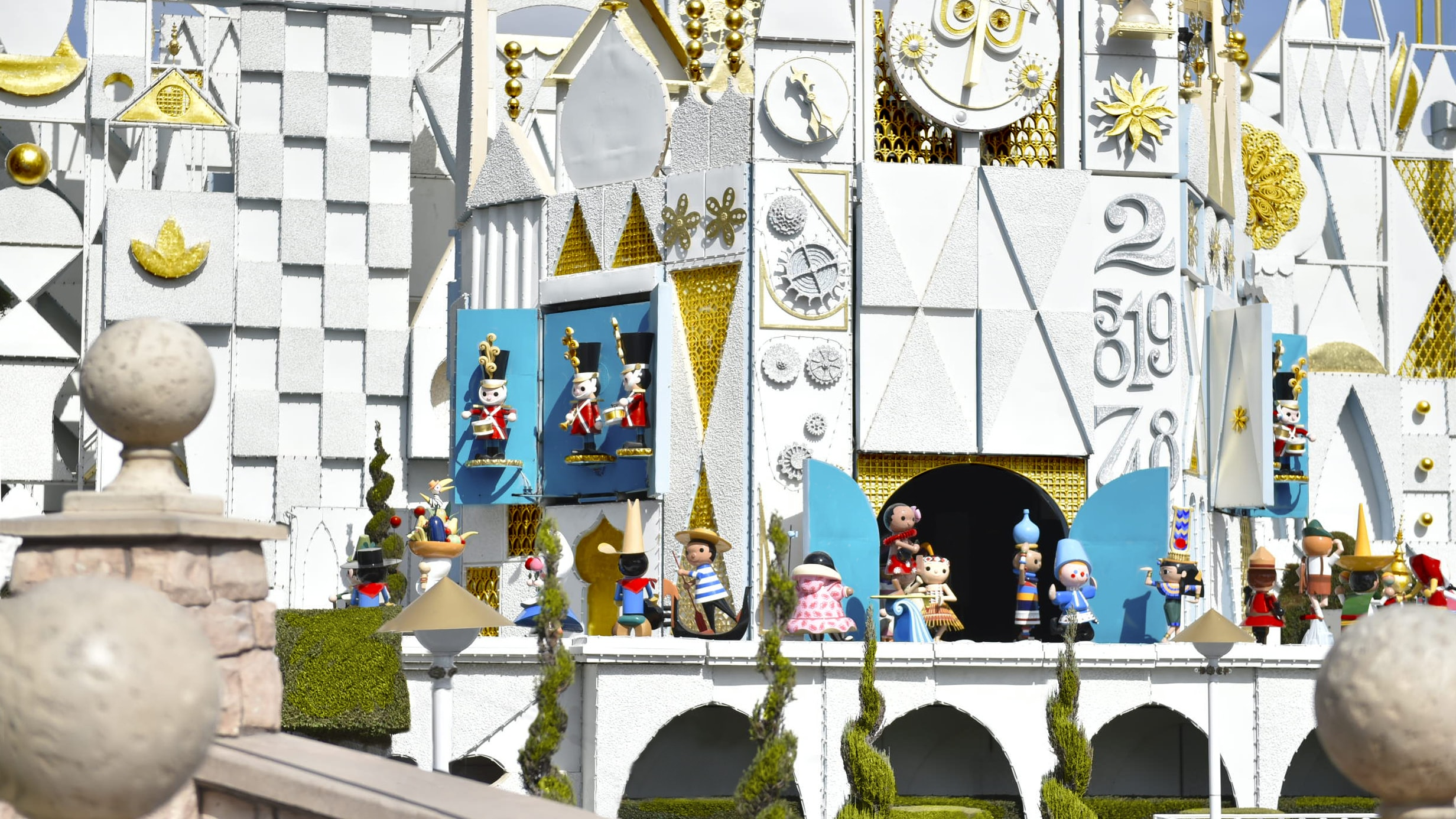 """Image of the exterior castle and clock tower at the """"it's a small world"""" ride."""